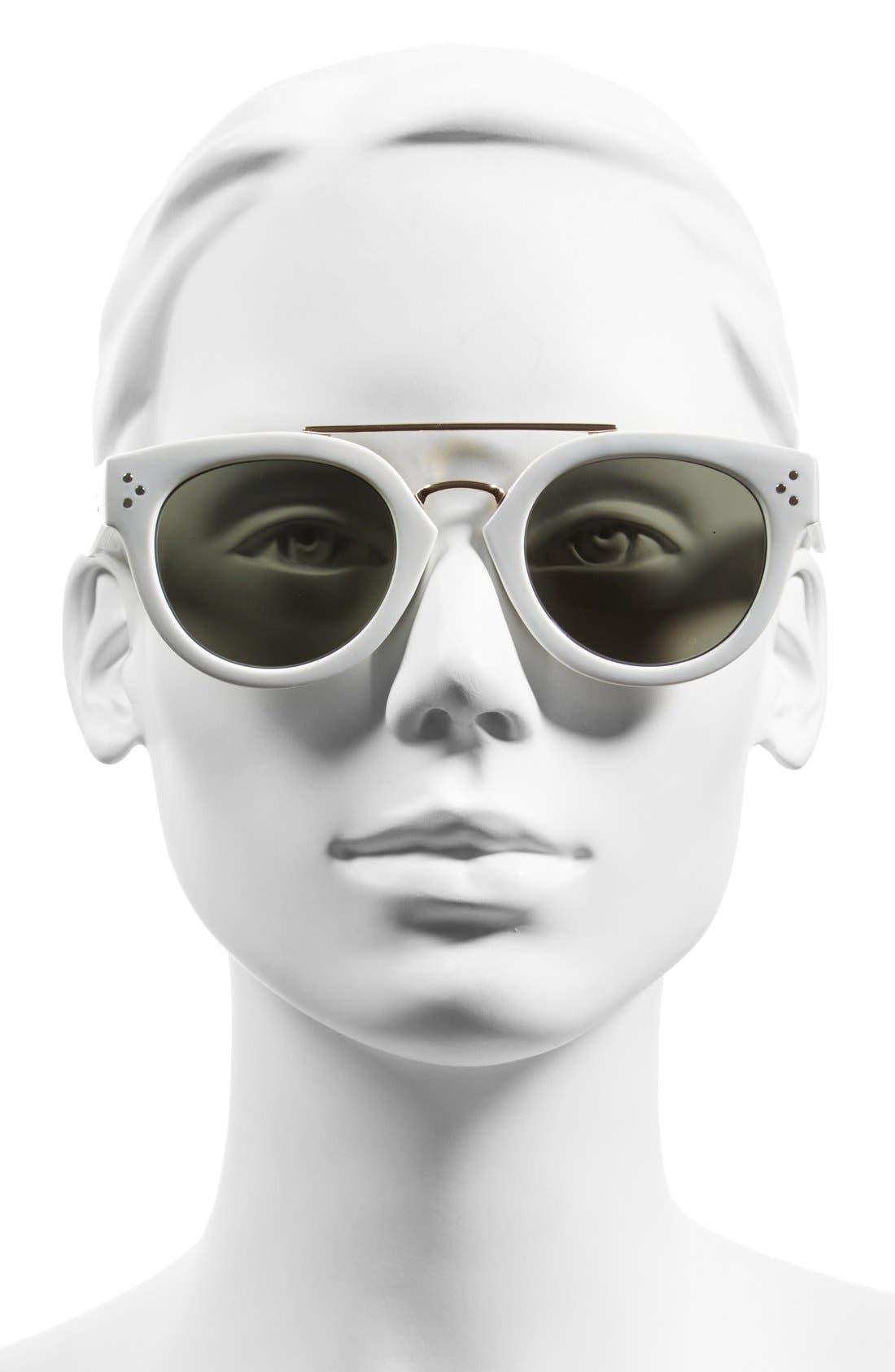 Alternate Image 2  - Steve Madden 48mm Metal Brow Bar Round Sunglasses