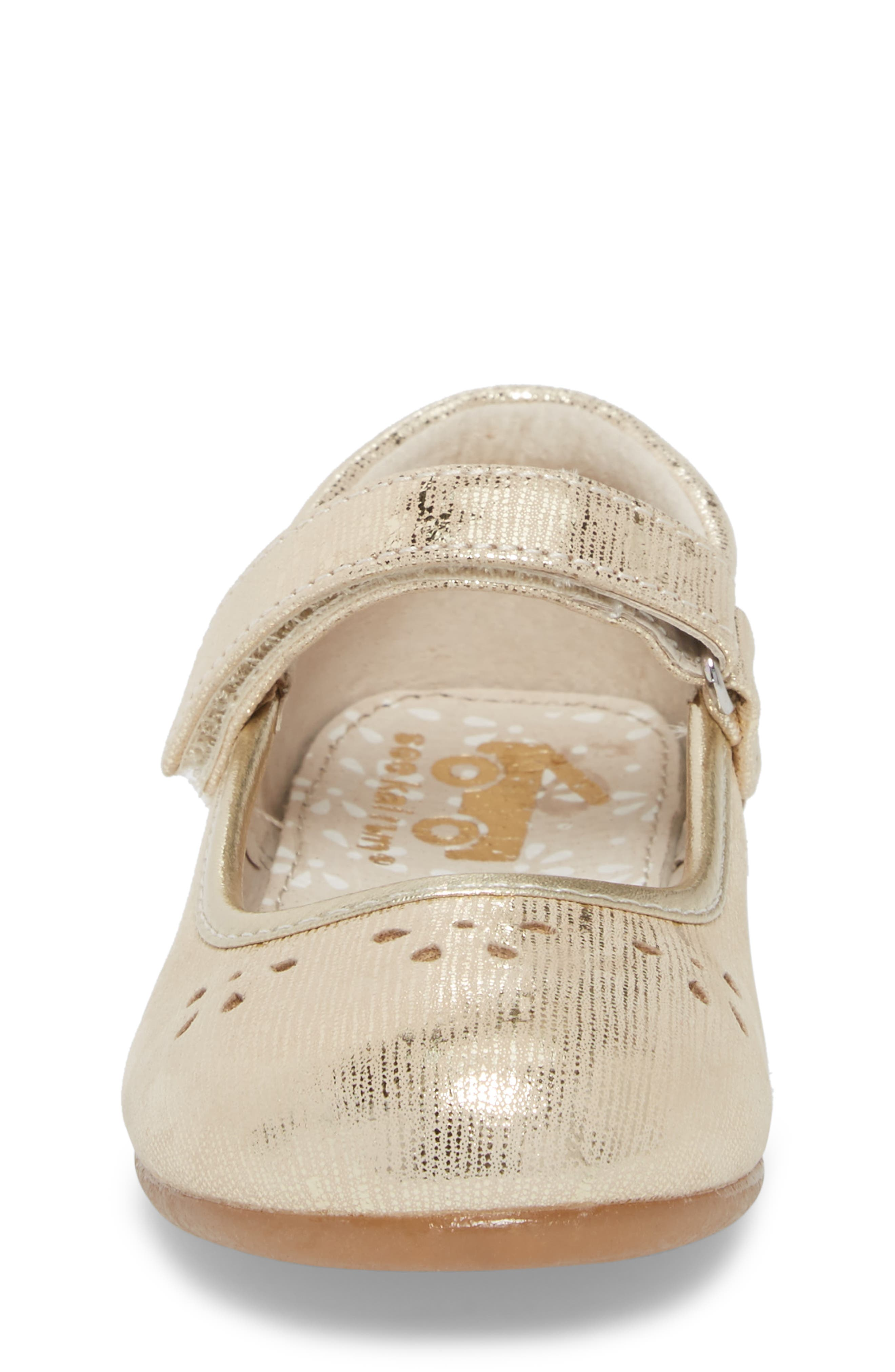 Ginger III Metallic Leather Mary Jane,                             Alternate thumbnail 4, color,                             Gold
