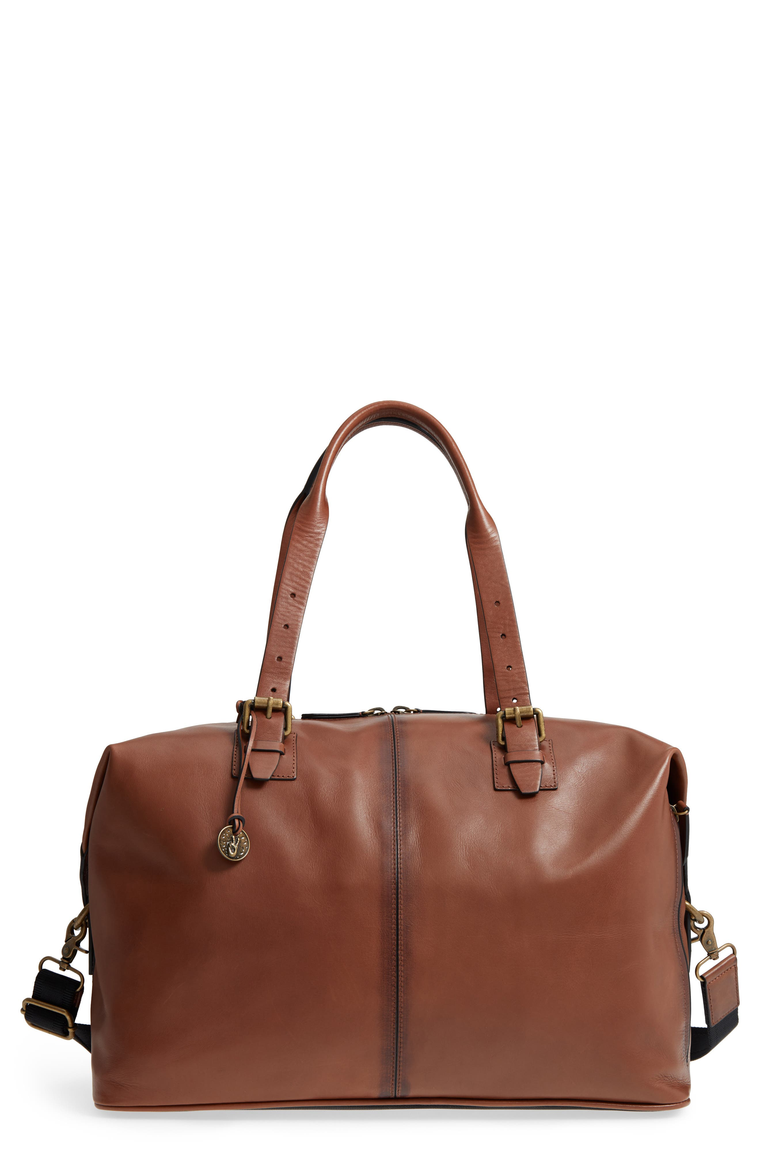 Heritage Leather Duffel Bag,                             Main thumbnail 1, color,                             Brownstone