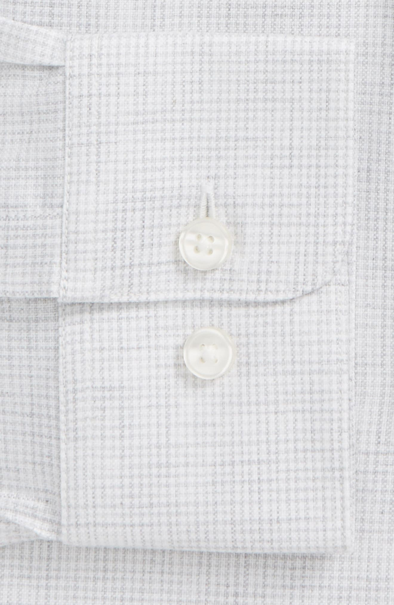 Regular Fit Stretch Check Dress Shirt,                             Alternate thumbnail 5, color,                             Grey
