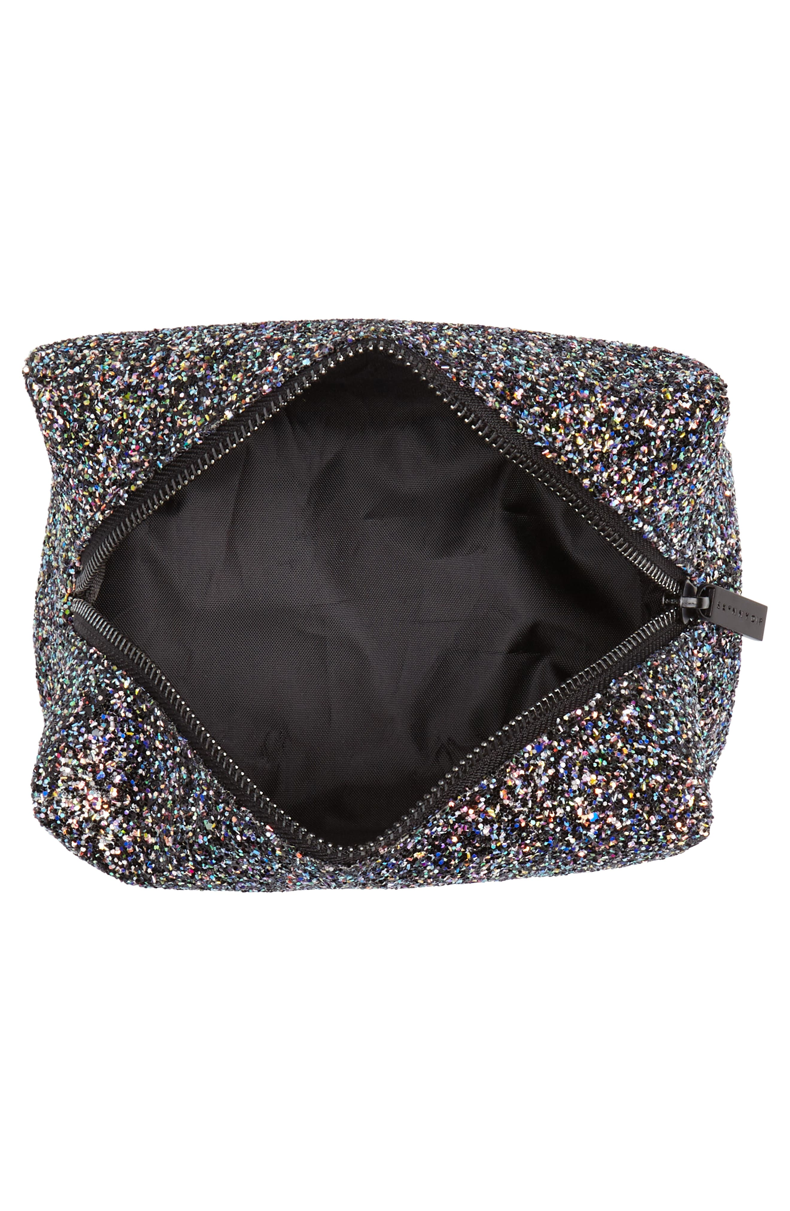 Skinny Dip Liquorice Glitter Cosmetics Bag,                             Alternate thumbnail 3, color,                             No Color