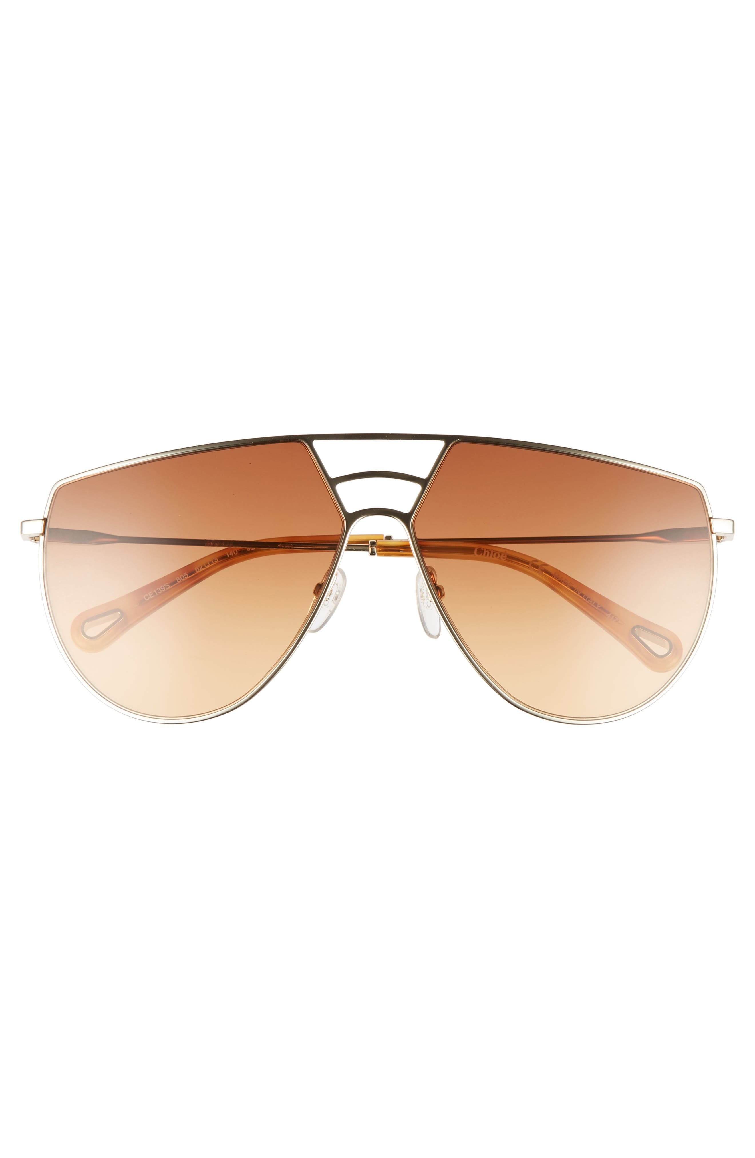 Negative Space 62mm Oversize Aviator Sunglasses,                             Alternate thumbnail 3, color,                             Gold/ Burnt