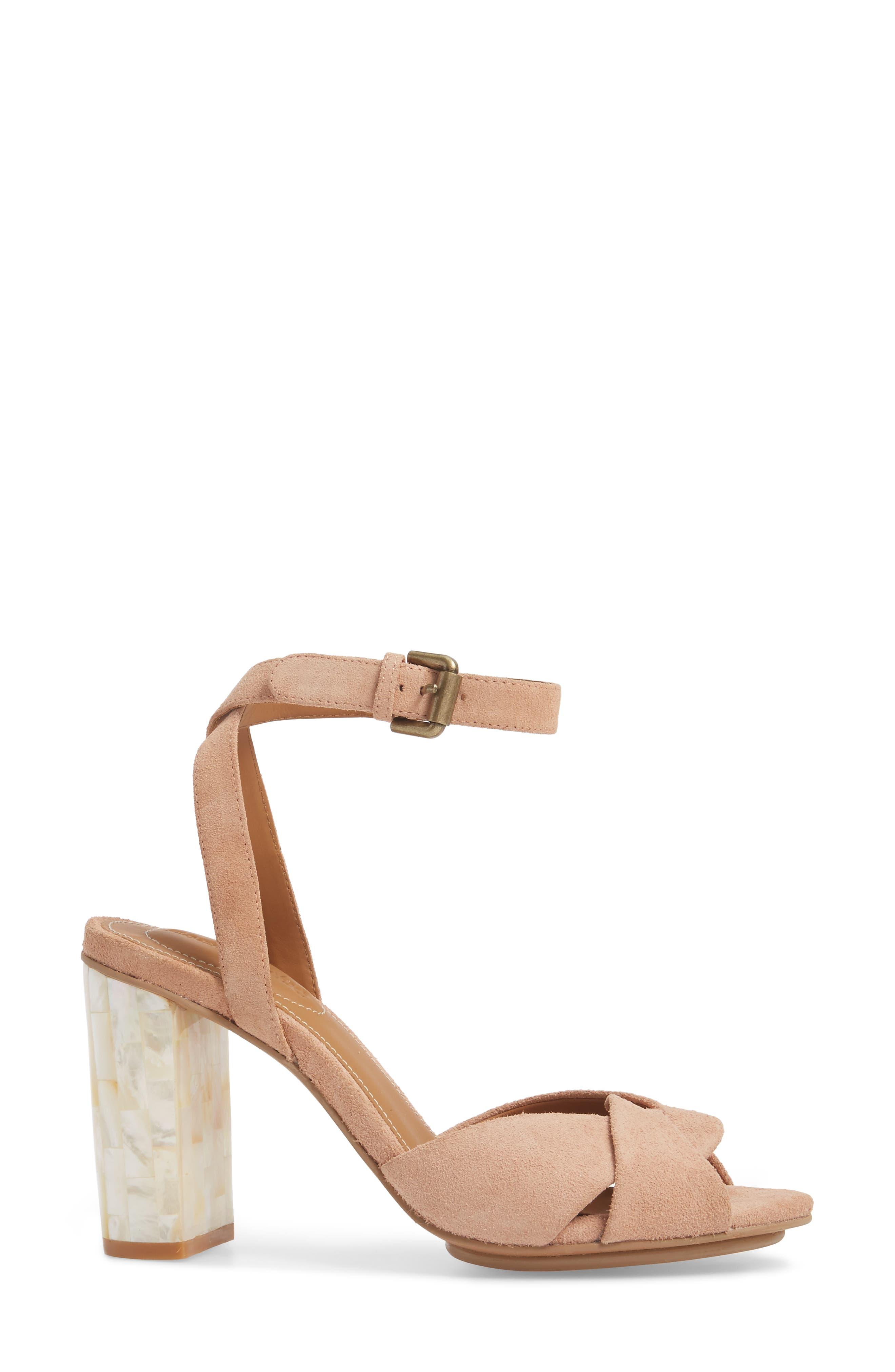 Isida Block Heel Sandal,                             Alternate thumbnail 3, color,                             Cipria