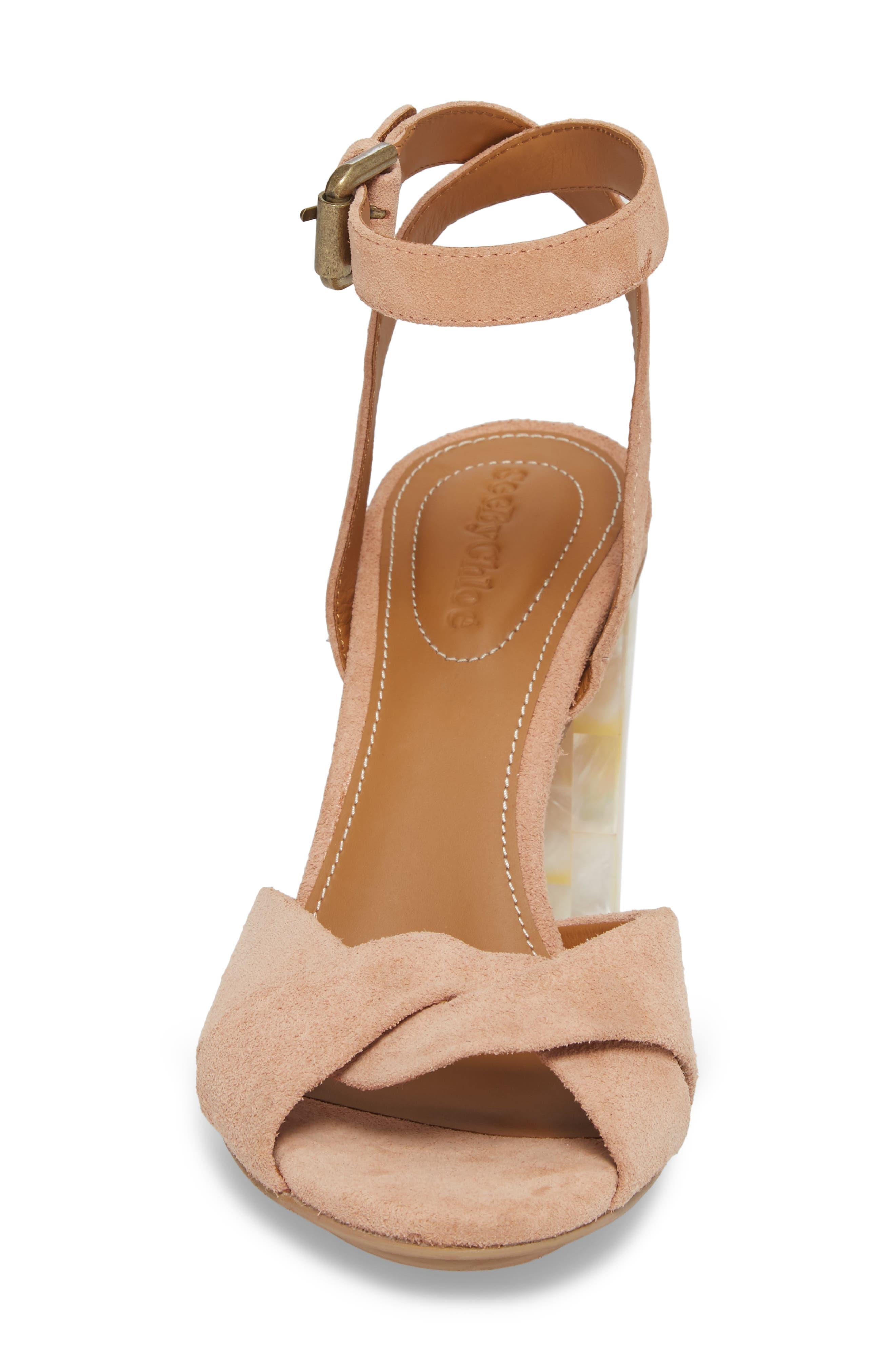 Isida Block Heel Sandal,                             Alternate thumbnail 4, color,                             Cipria