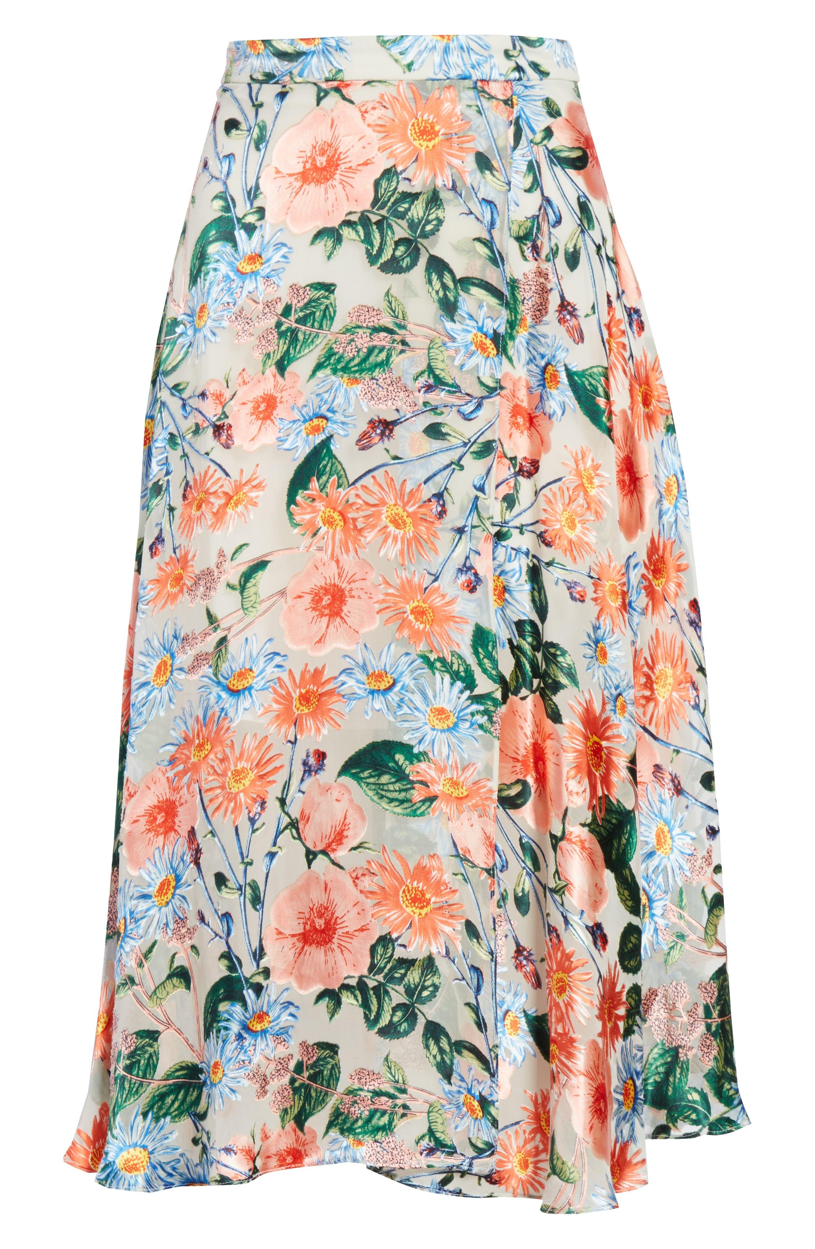 Nanette Floral Faux Wrap Skirt,                             Alternate thumbnail 6, color,                             Floral Fields