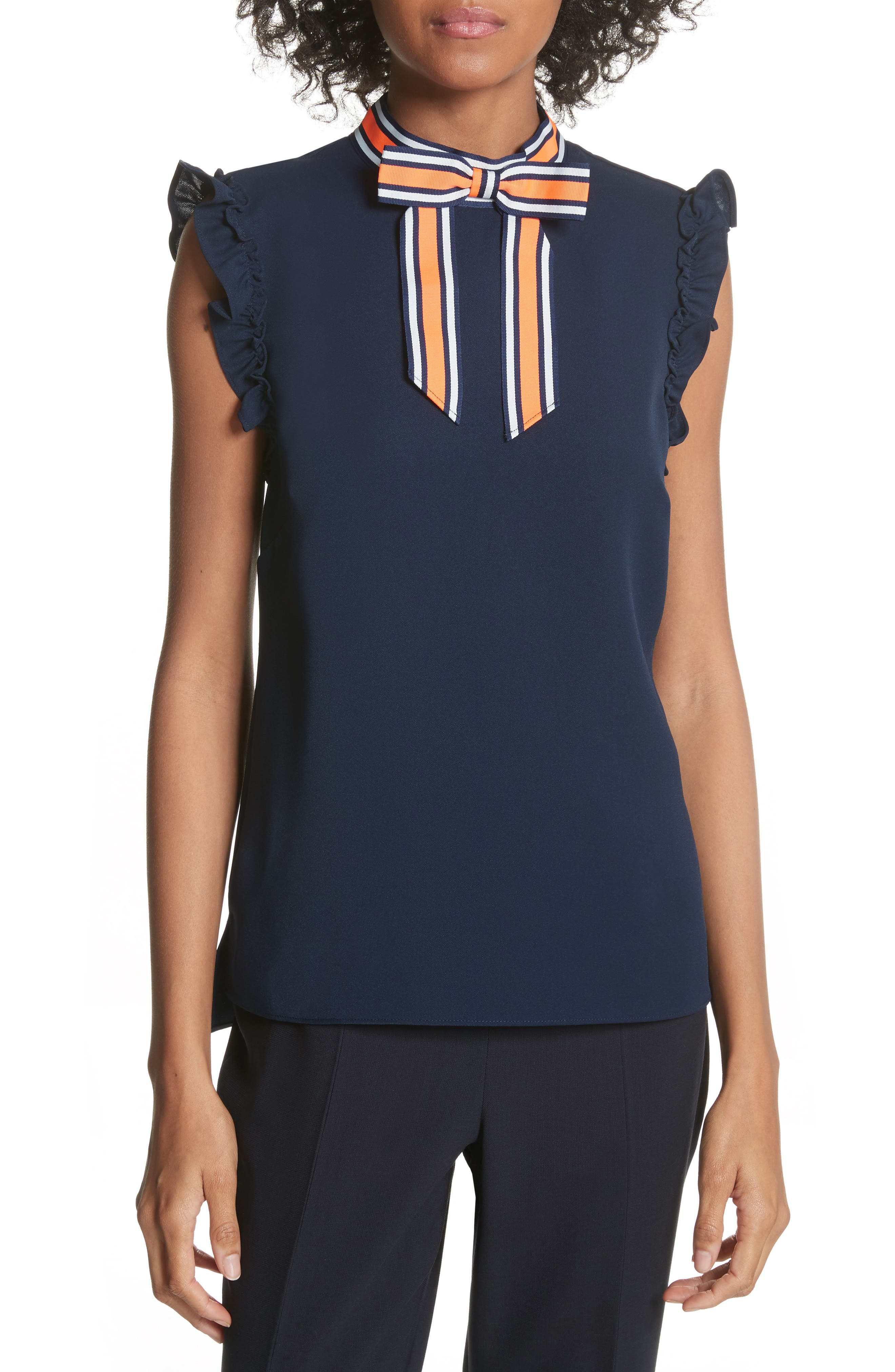 Bow Neck Frilled Top,                         Main,                         color, Navy