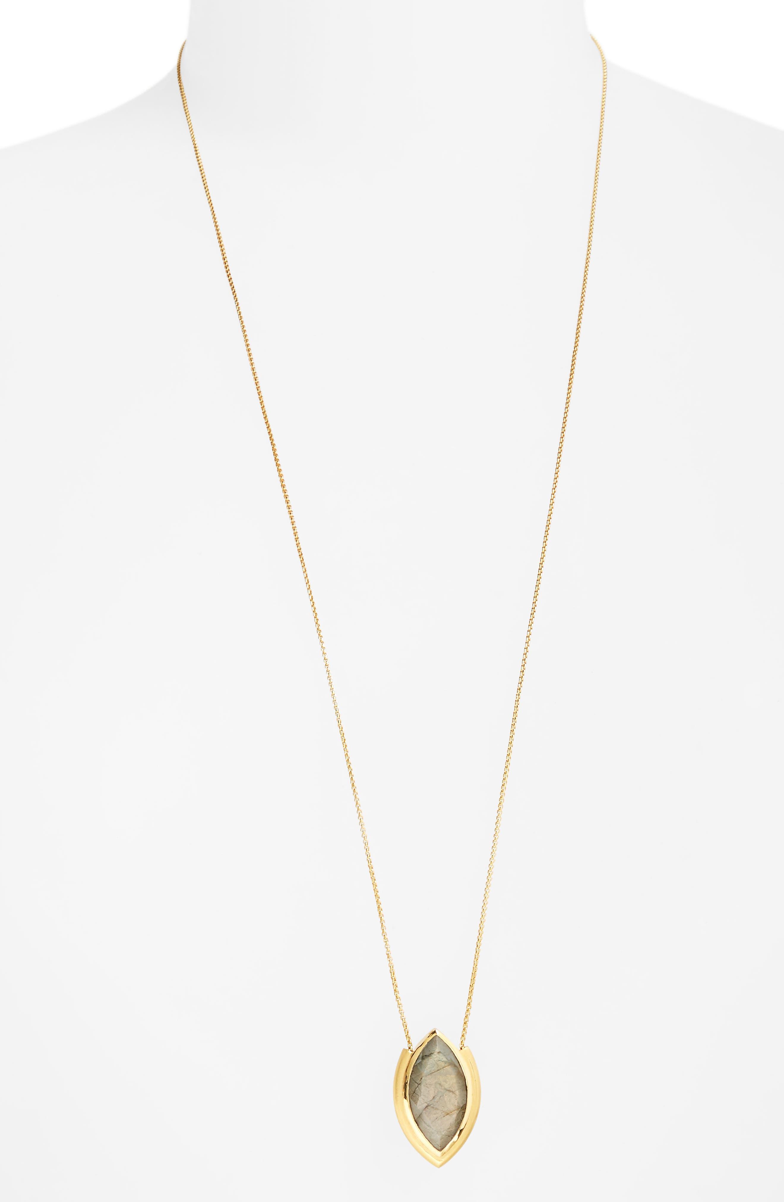 Lotus Pendant Necklace,                         Main,                         color, Labradorite/ Gold
