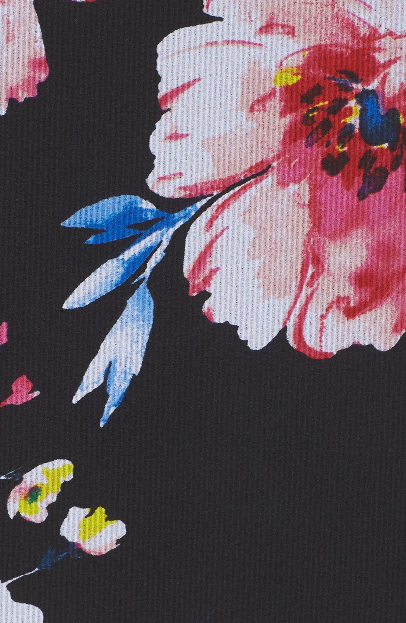 Tie Neck Ruffle Hem Dress,                             Alternate thumbnail 6, color,                             Black/ Fuchsia/ Blue
