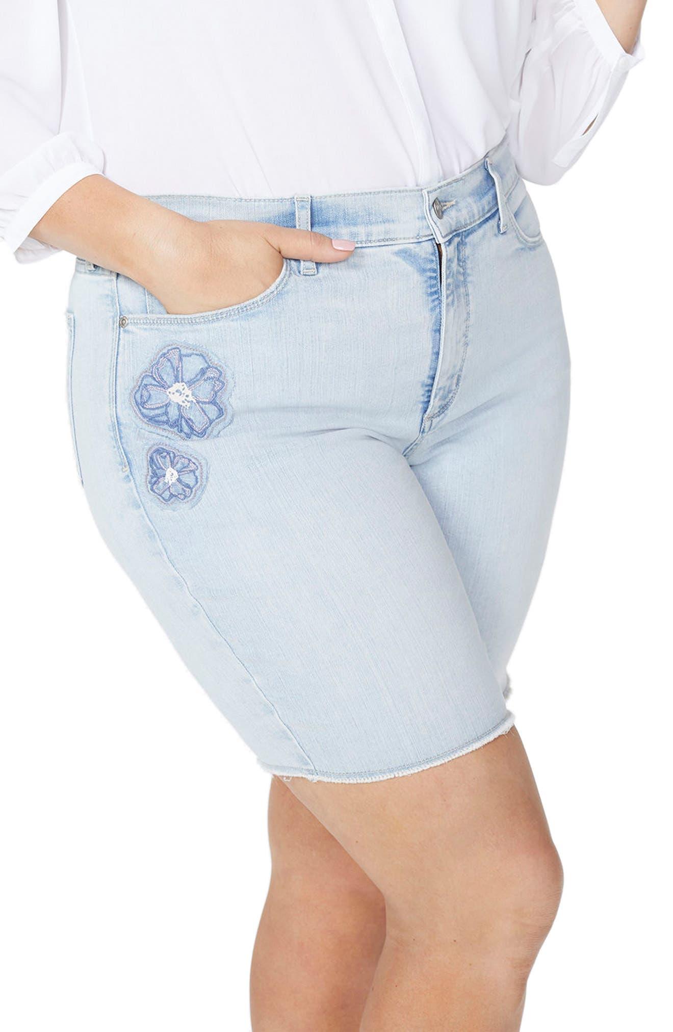 Briella Dream Blossom Denim Bermuda Shorts,                             Alternate thumbnail 3, color,                             Palm Desert