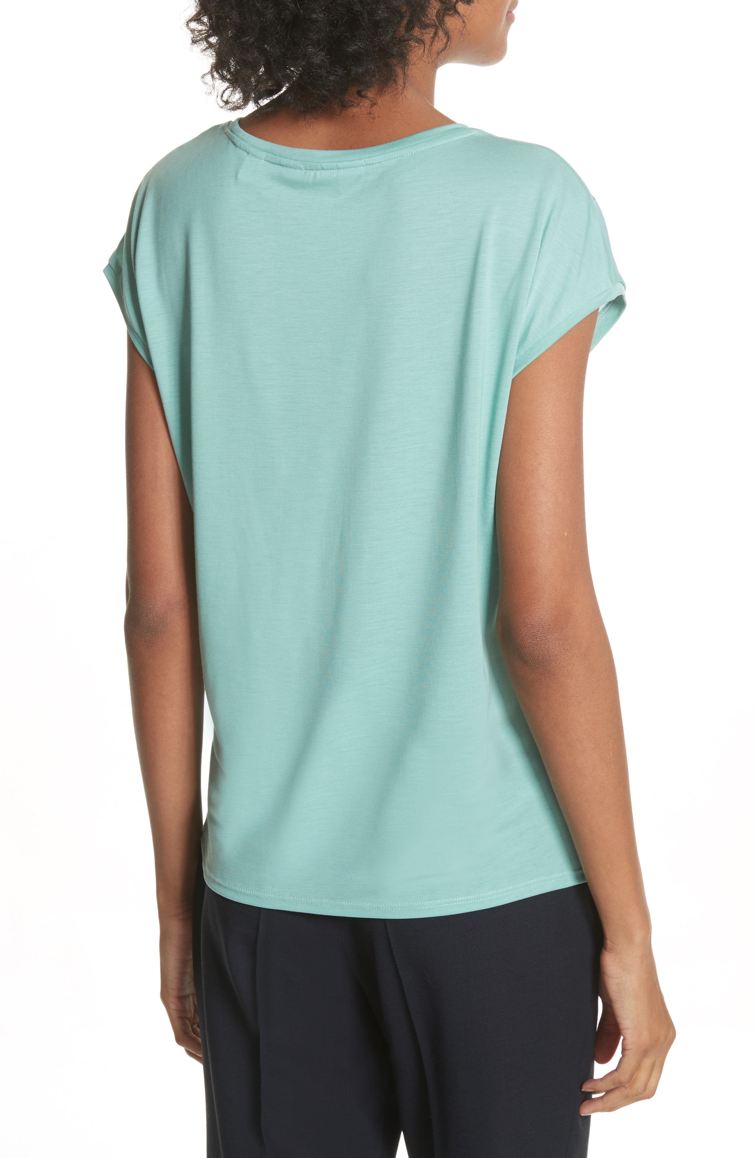 Versailles Woven Front Tee,                             Alternate thumbnail 2, color,                             Teal