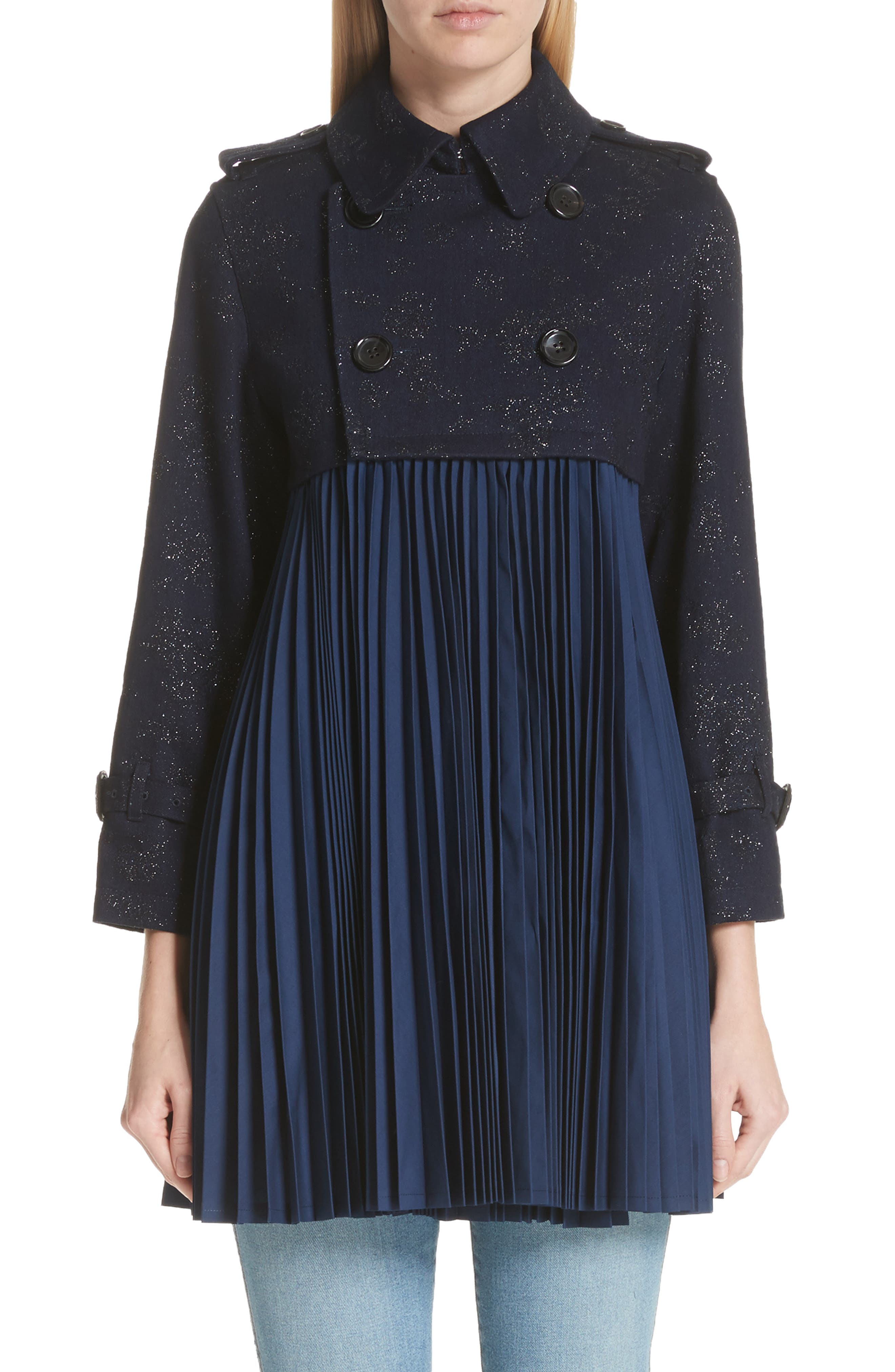 Pleated Trench Coat,                         Main,                         color, Indigo-Blk-Nvy
