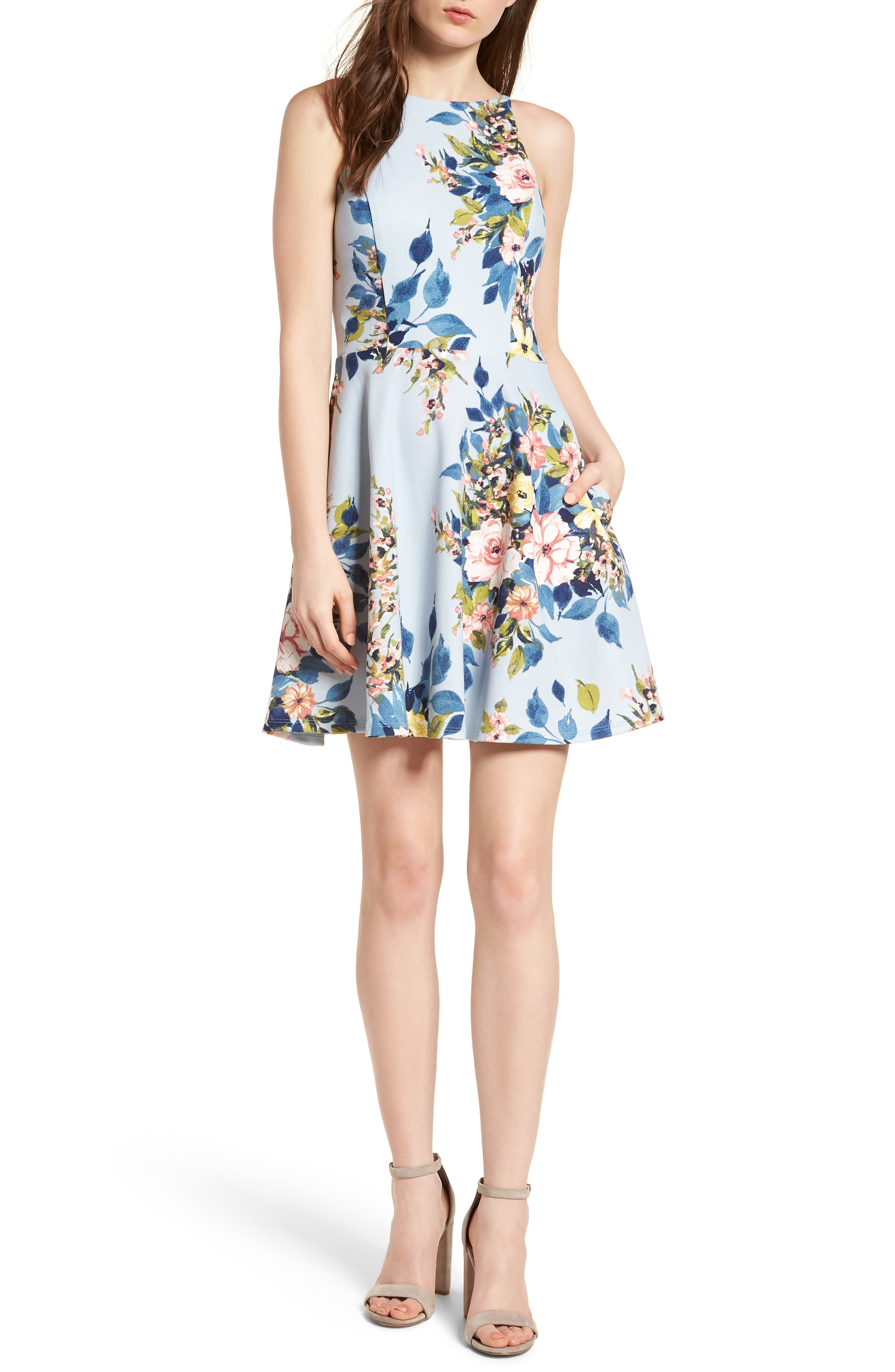 Floral Skater Dress,                             Main thumbnail 1, color,                             Blue/ Rose