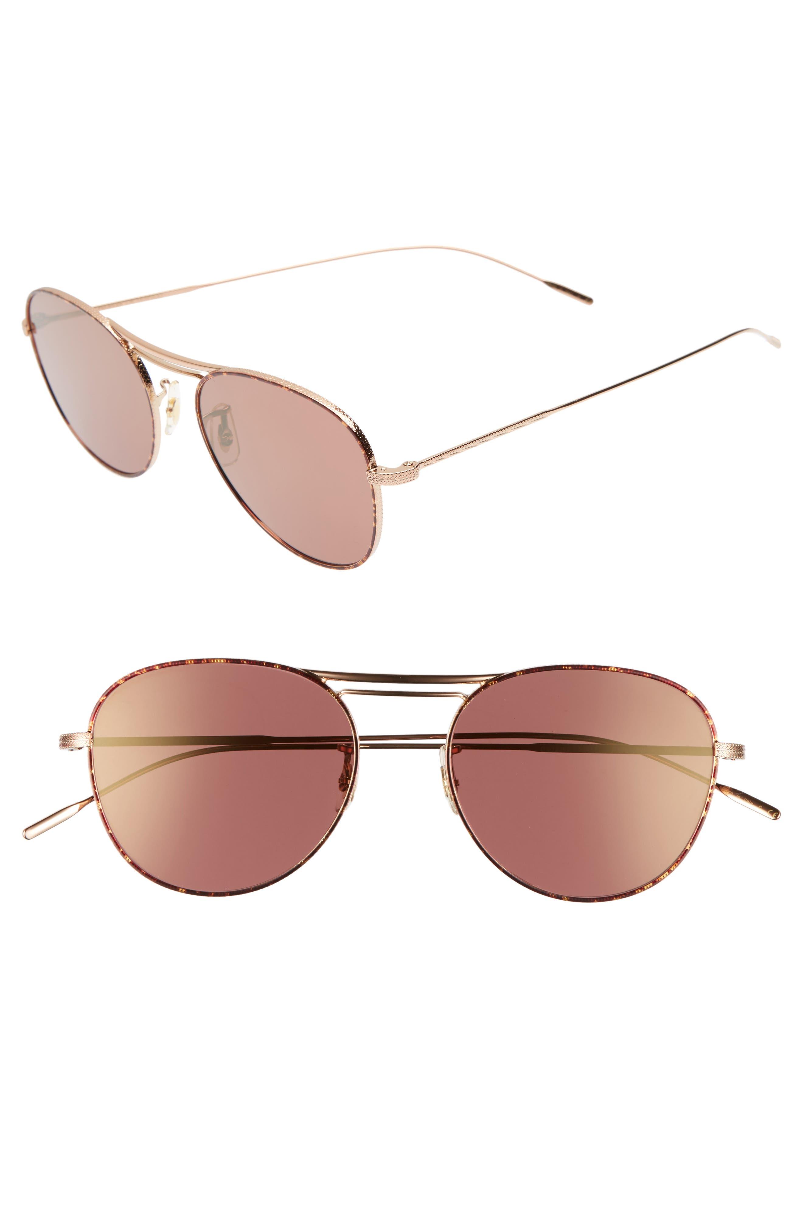 Cade 52mm Mirror Lens Aviator Sunglasses,                         Main,                         color, Burgundy