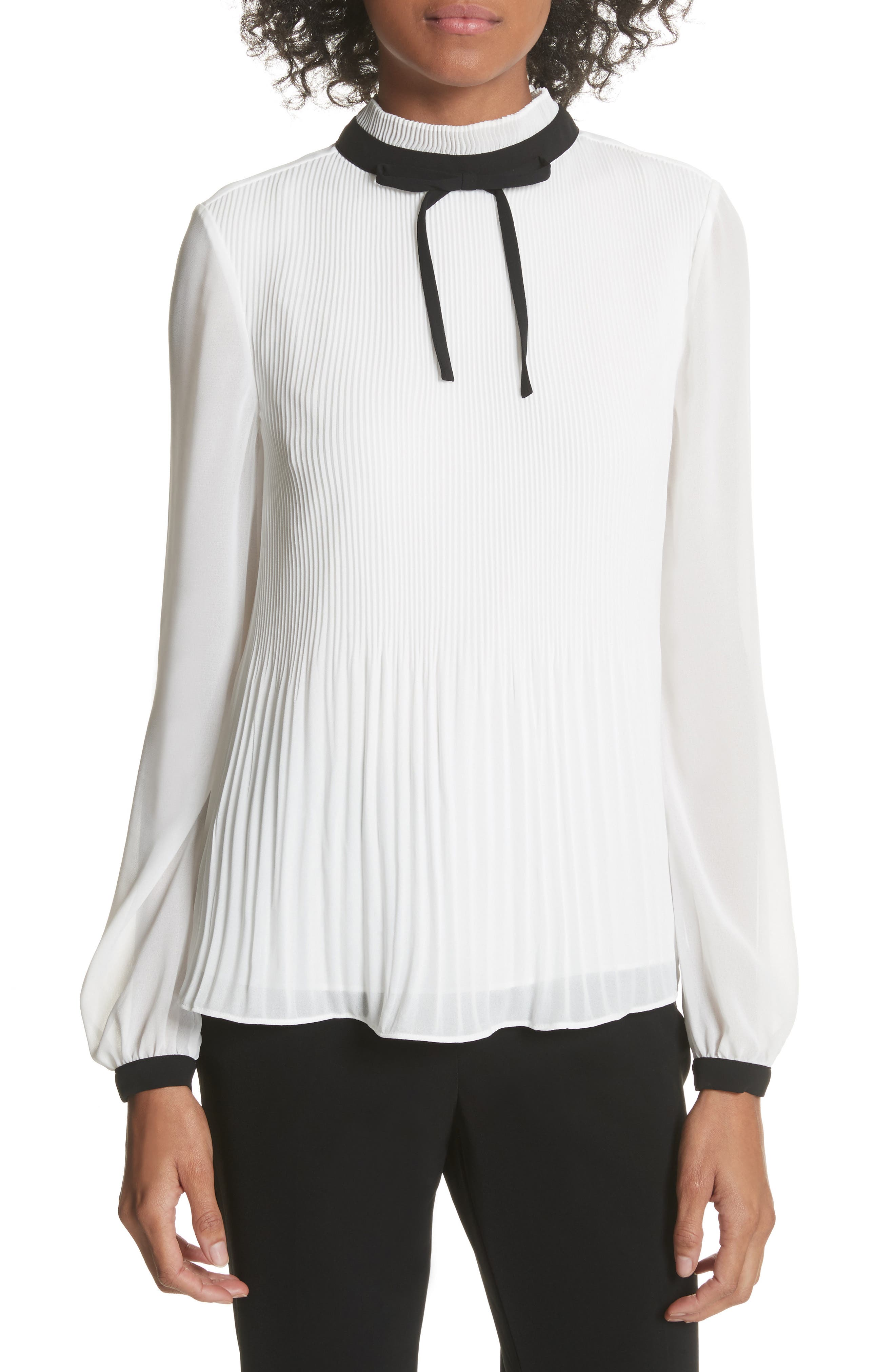 Pleated High Neck Chiffon Top,                         Main,                         color, Natural
