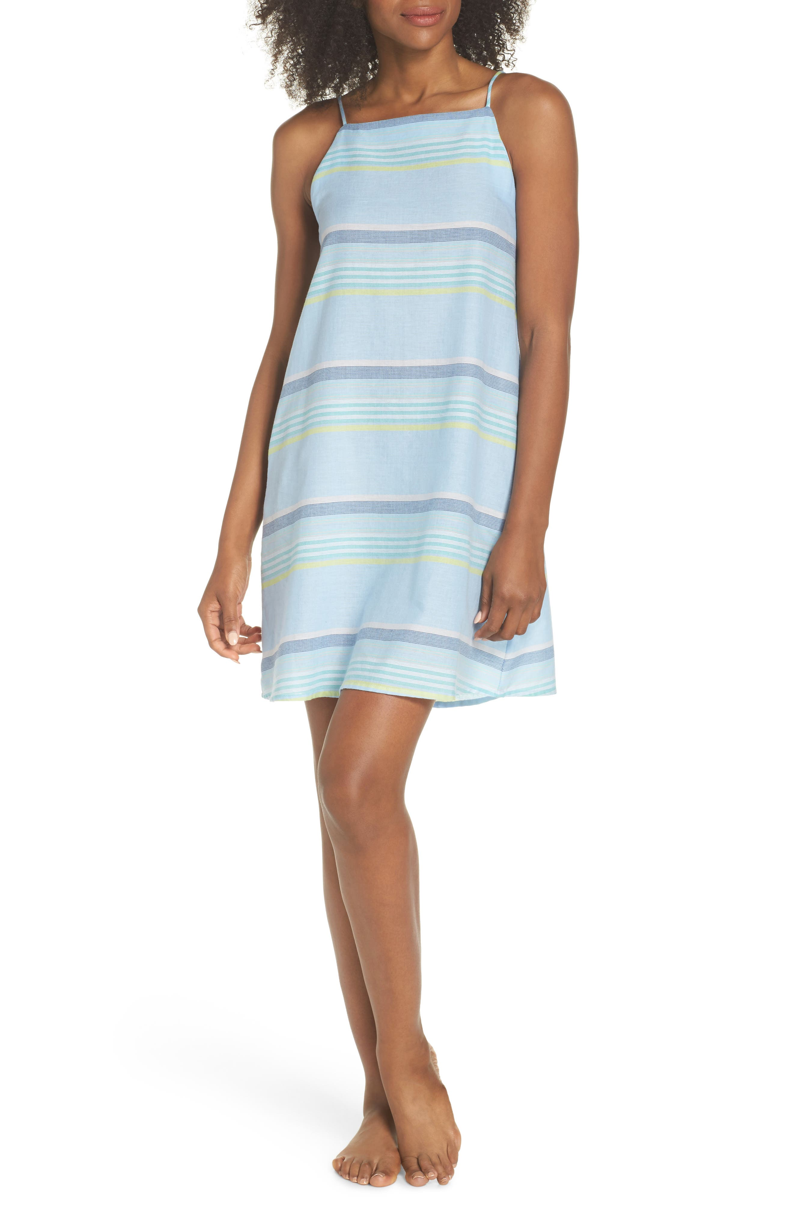 Sunset Stripe Cover-Up Dress,                             Main thumbnail 1, color,                             Sky Blue