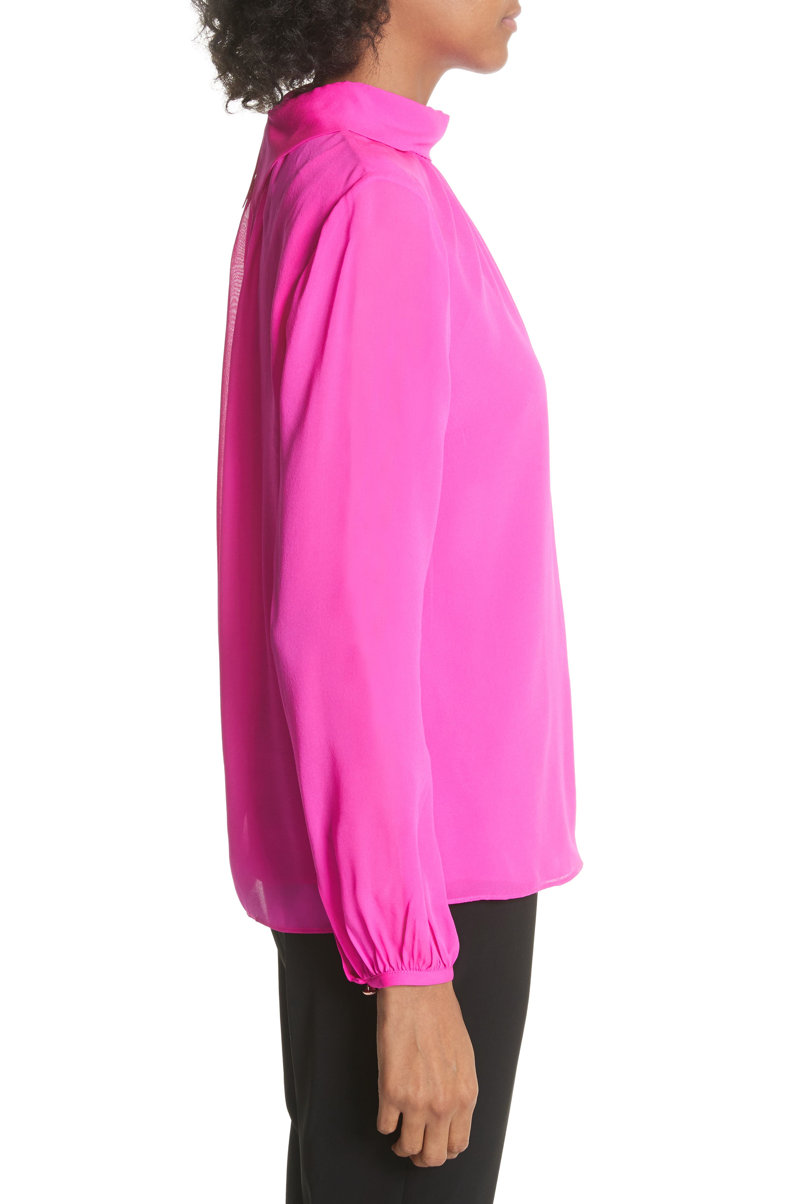 Ruched Silk High Neck Blouse,                             Alternate thumbnail 3, color,                             Bright Pink