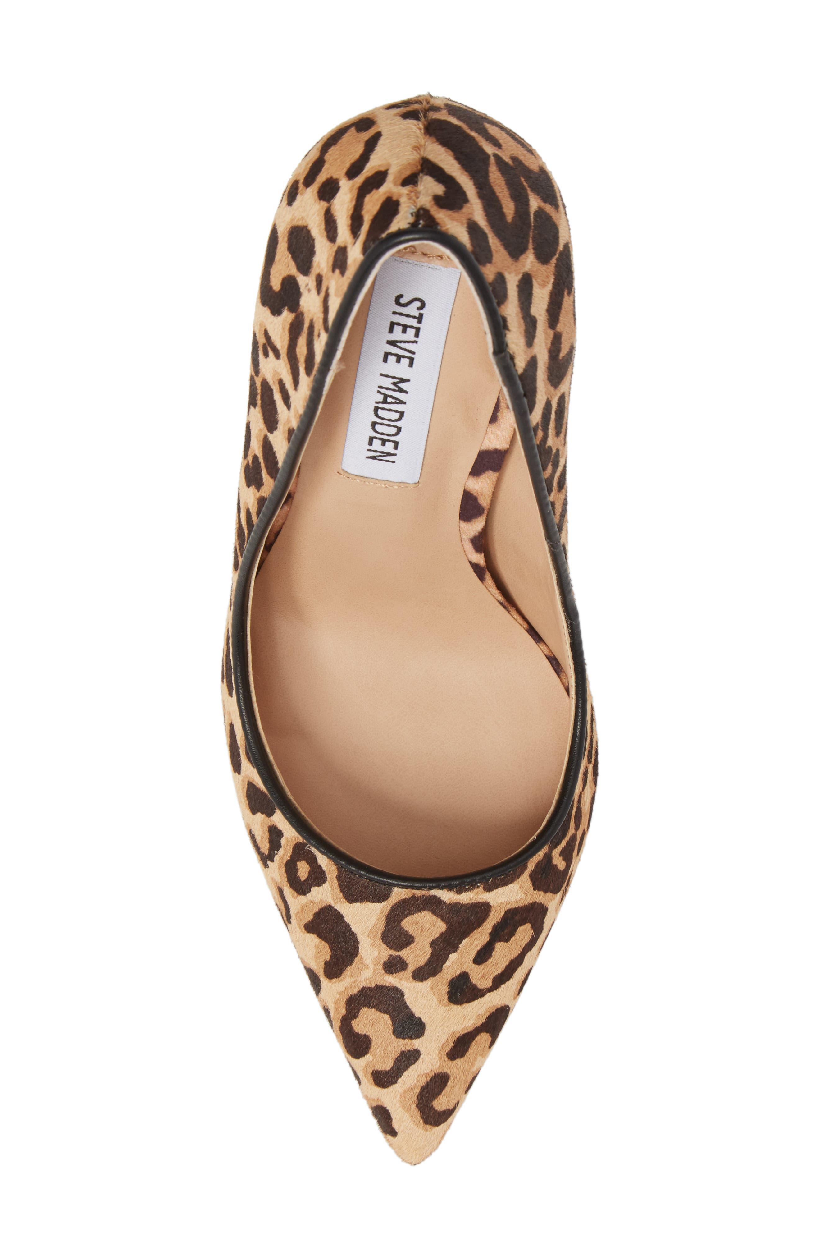 Daisie Genuine Calf Hair Pointy-Toe Pump,                             Alternate thumbnail 5, color,                             Leopard