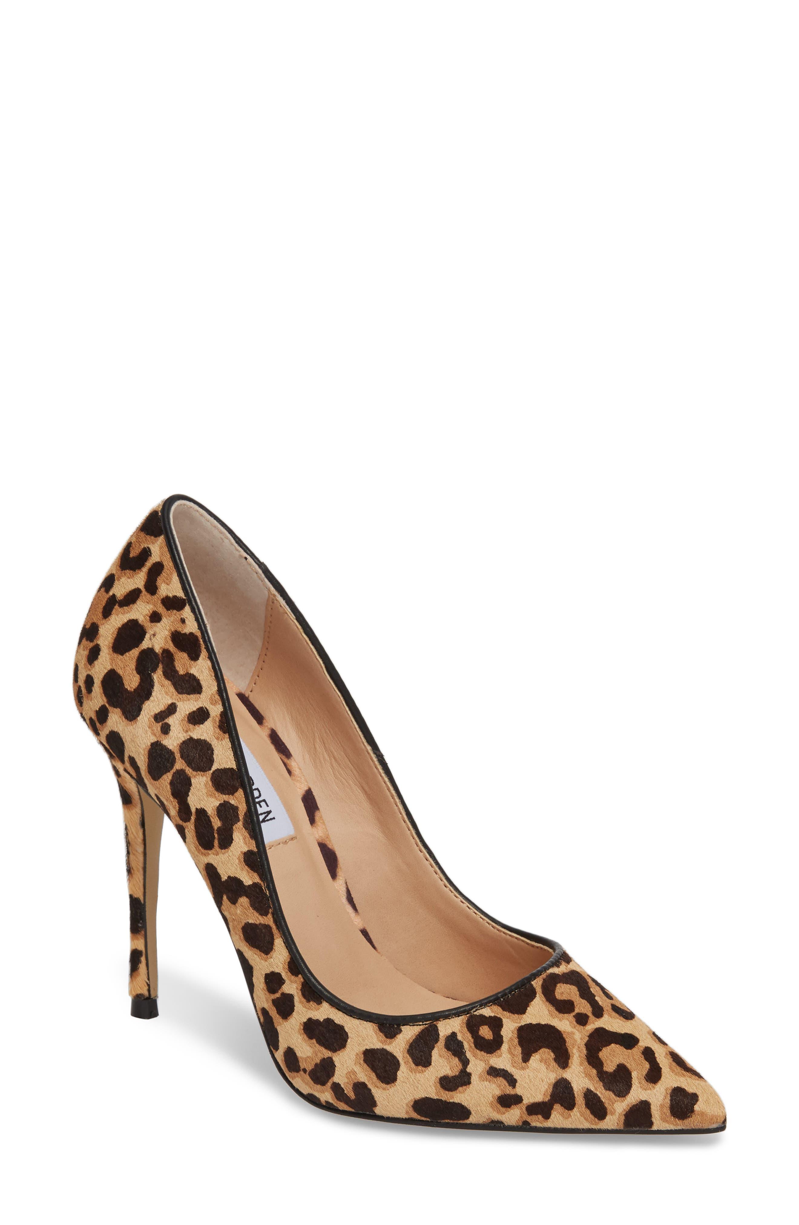 Daisie Genuine Calf Hair Pointy-Toe Pump,                         Main,                         color, Leopard