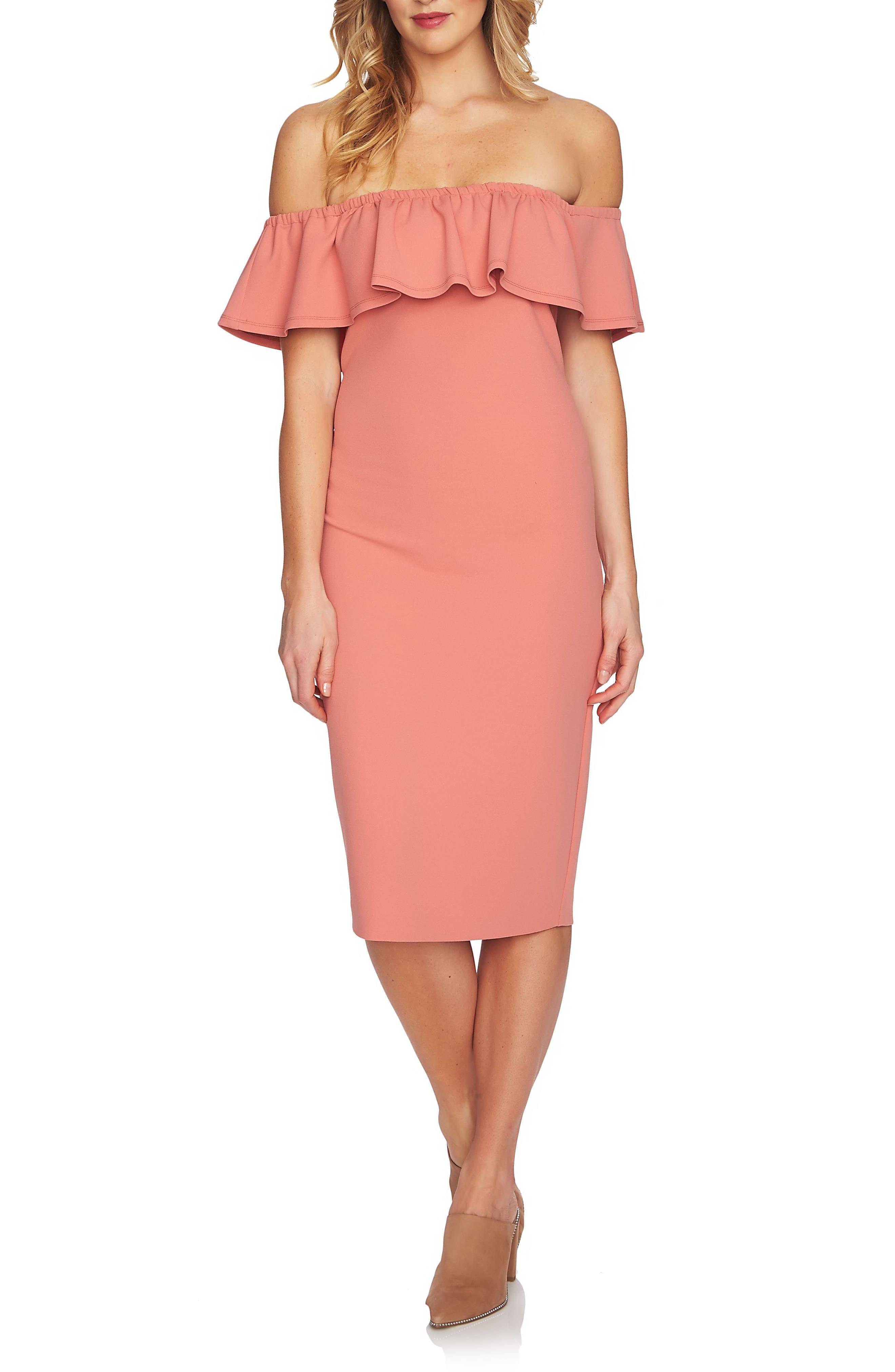 Ruffle Off the Shoulder Dress,                         Main,                         color, Cedar Rose
