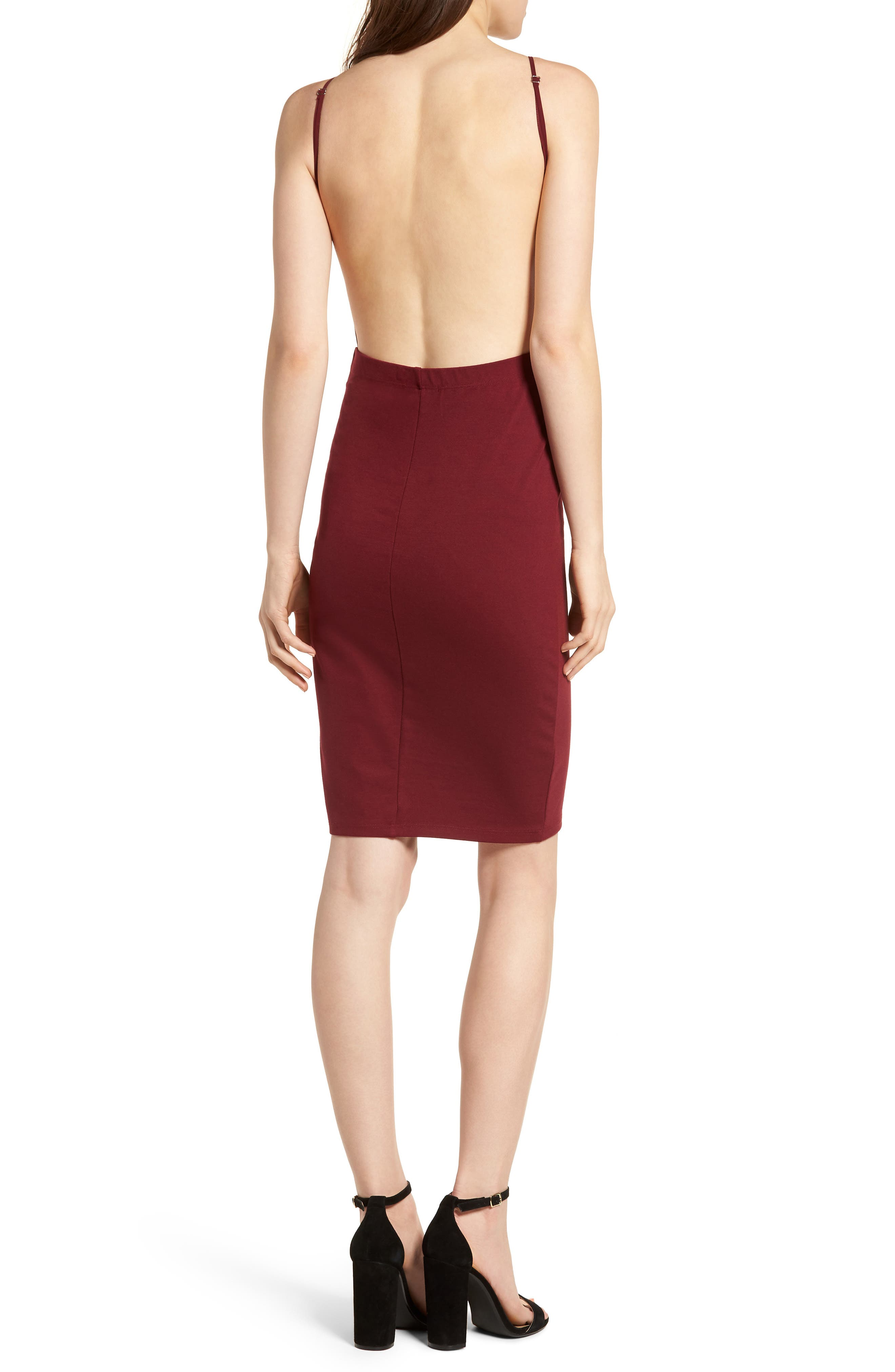 Open Back Body-Con Dress,                             Alternate thumbnail 2, color,                             Wine