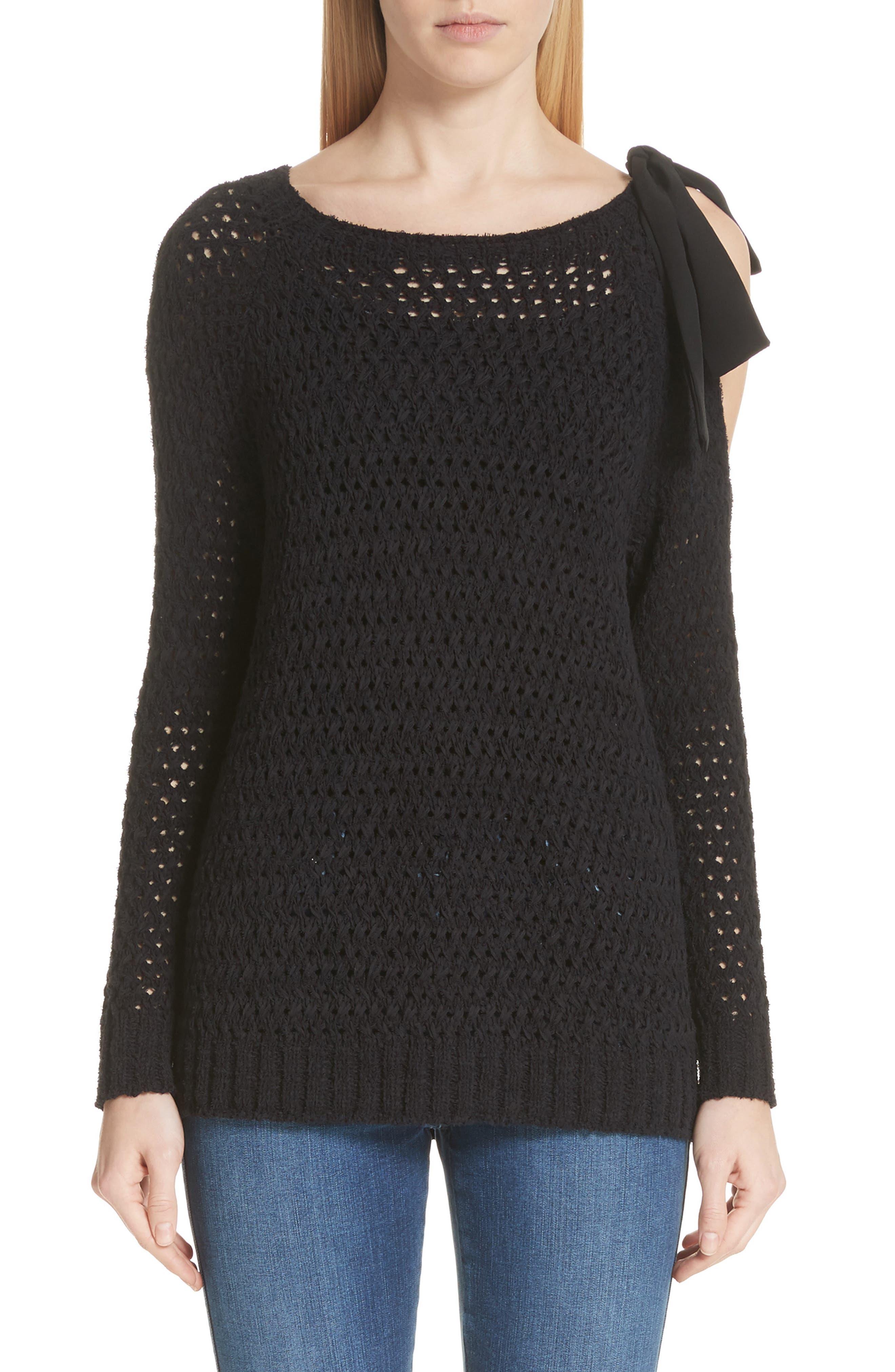 Crisscross Open Stitch Cold Shoulder Sweater,                         Main,                         color, Caviar