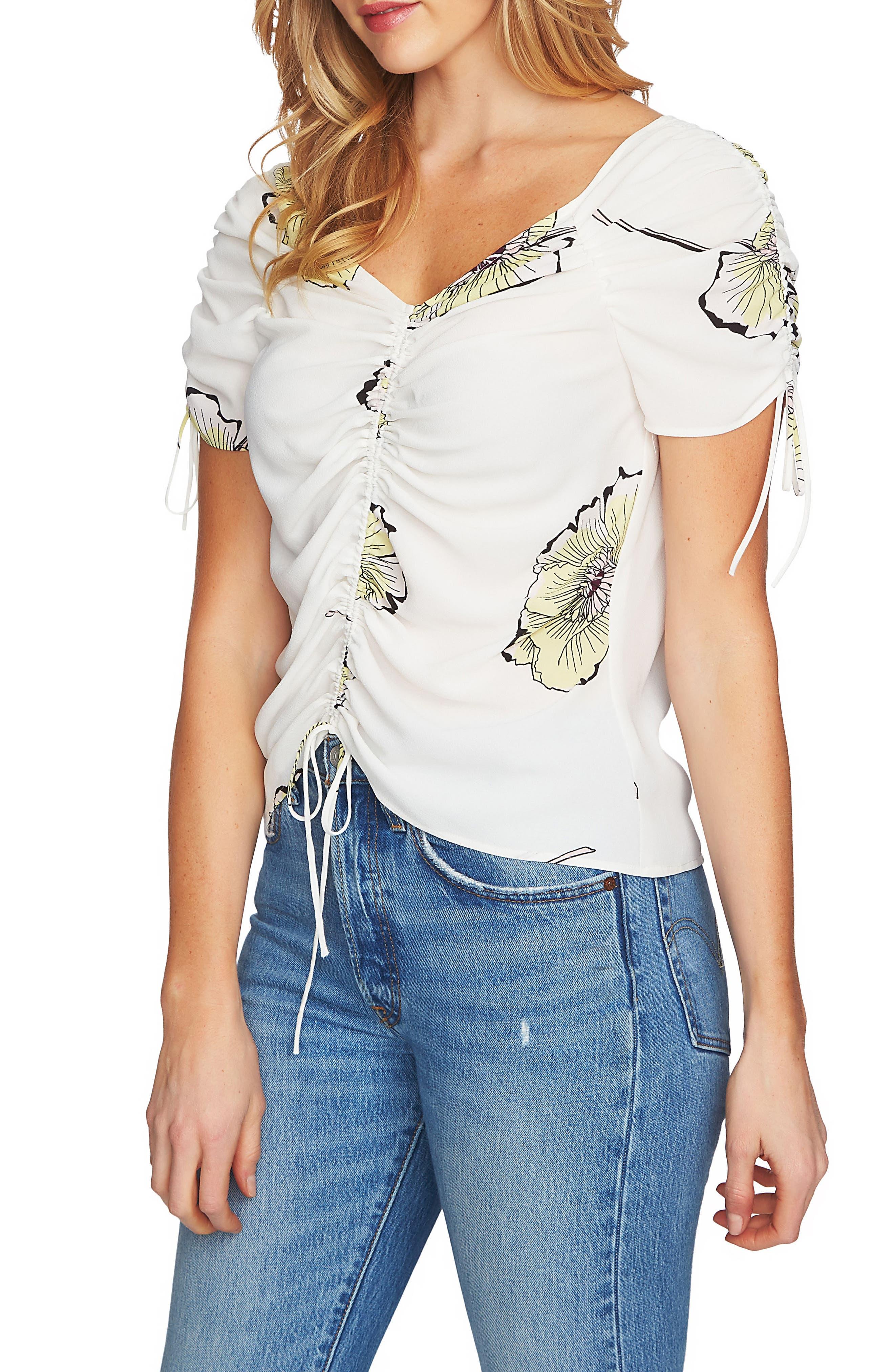 Cinch Blouse,                         Main,                         color, 108-Antiq. White