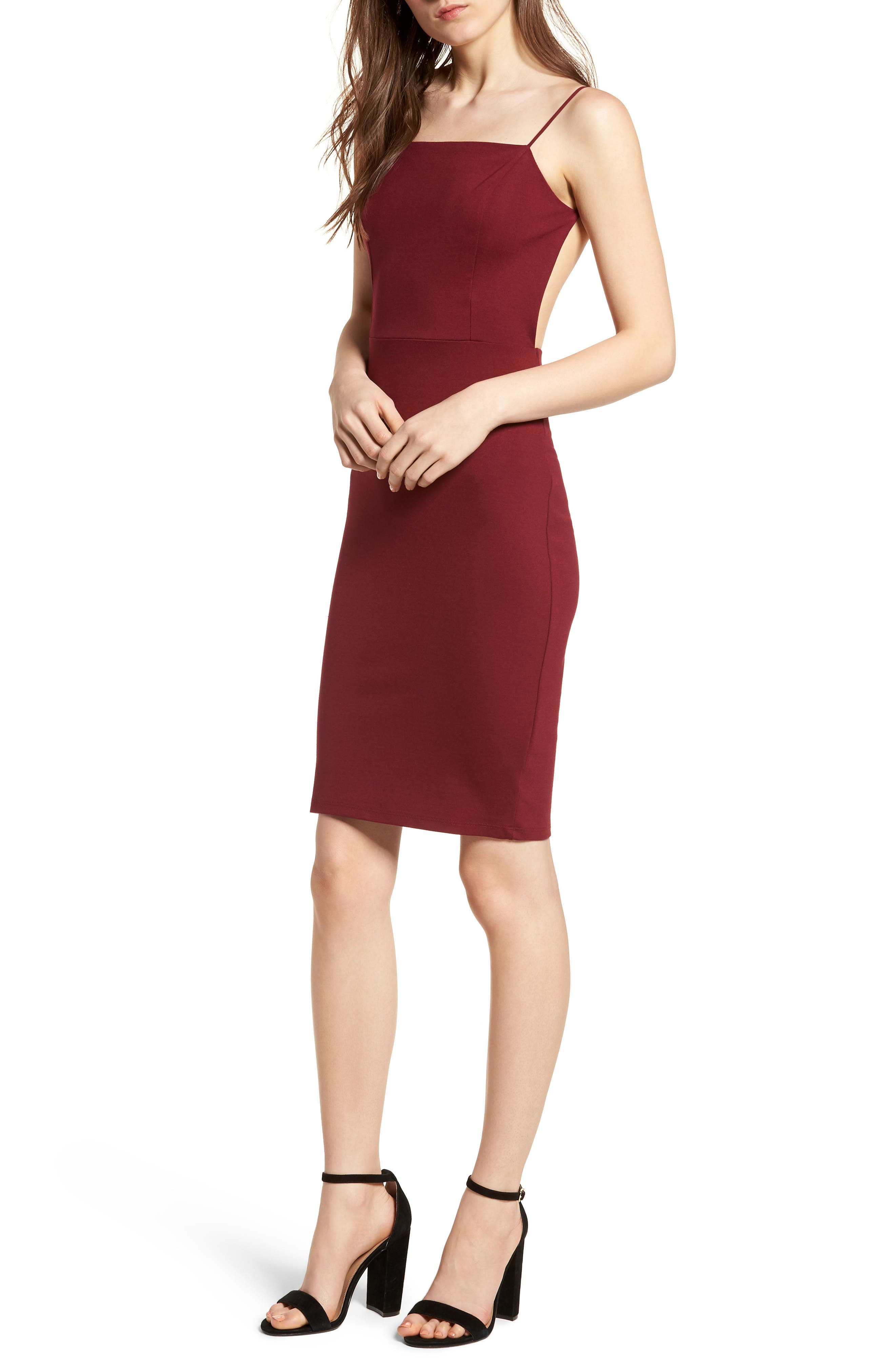 Open Back Body-Con Dress,                             Main thumbnail 1, color,                             Wine