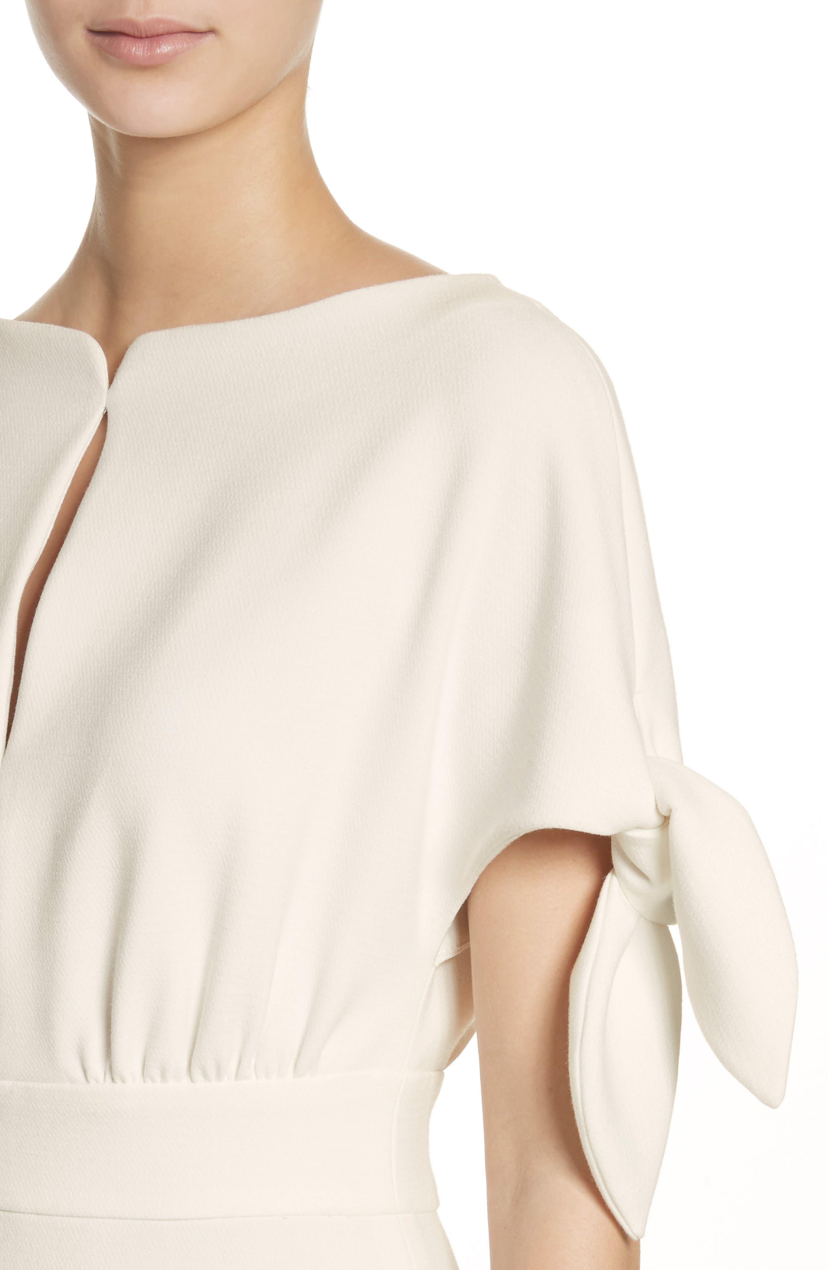 Tie Sleeve Wool Blend Sheath Dress,                             Alternate thumbnail 5, color,                             White