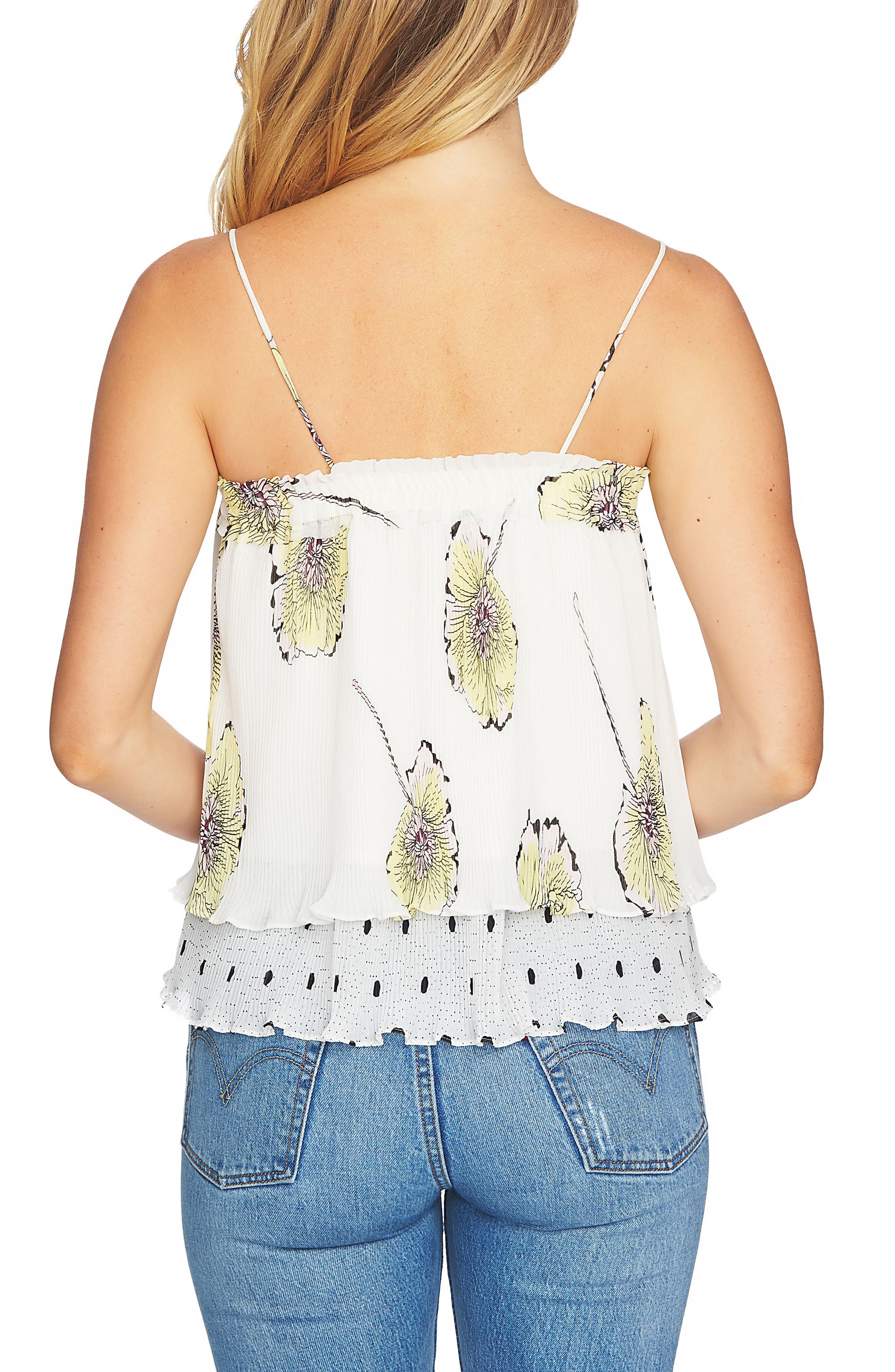 Mixed Print Pleated Camisole,                             Alternate thumbnail 2, color,                             Antiq. White