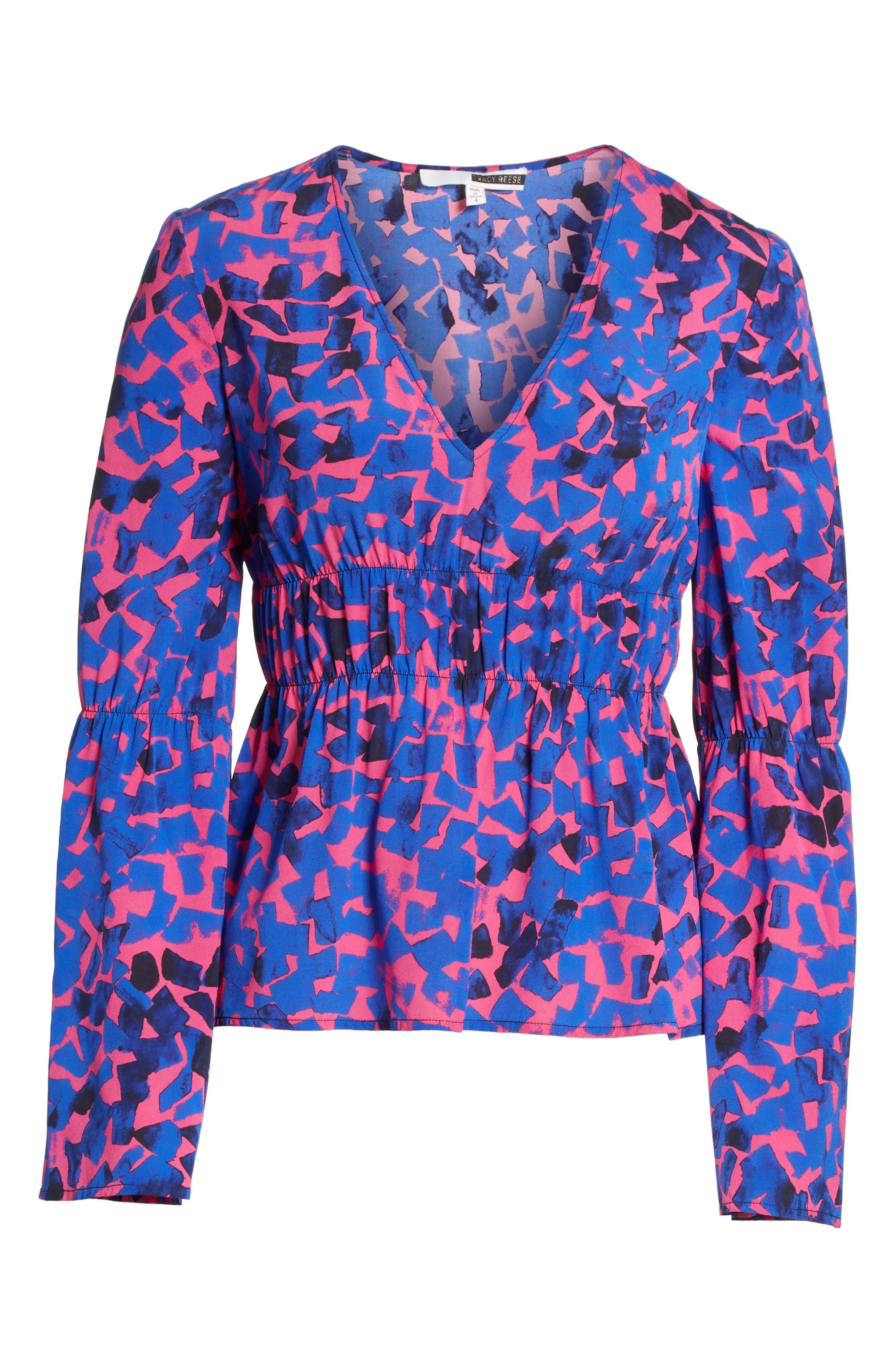 Ruched Stretch Silk Blouse,                             Alternate thumbnail 6, color,                             Cobalt Confetti