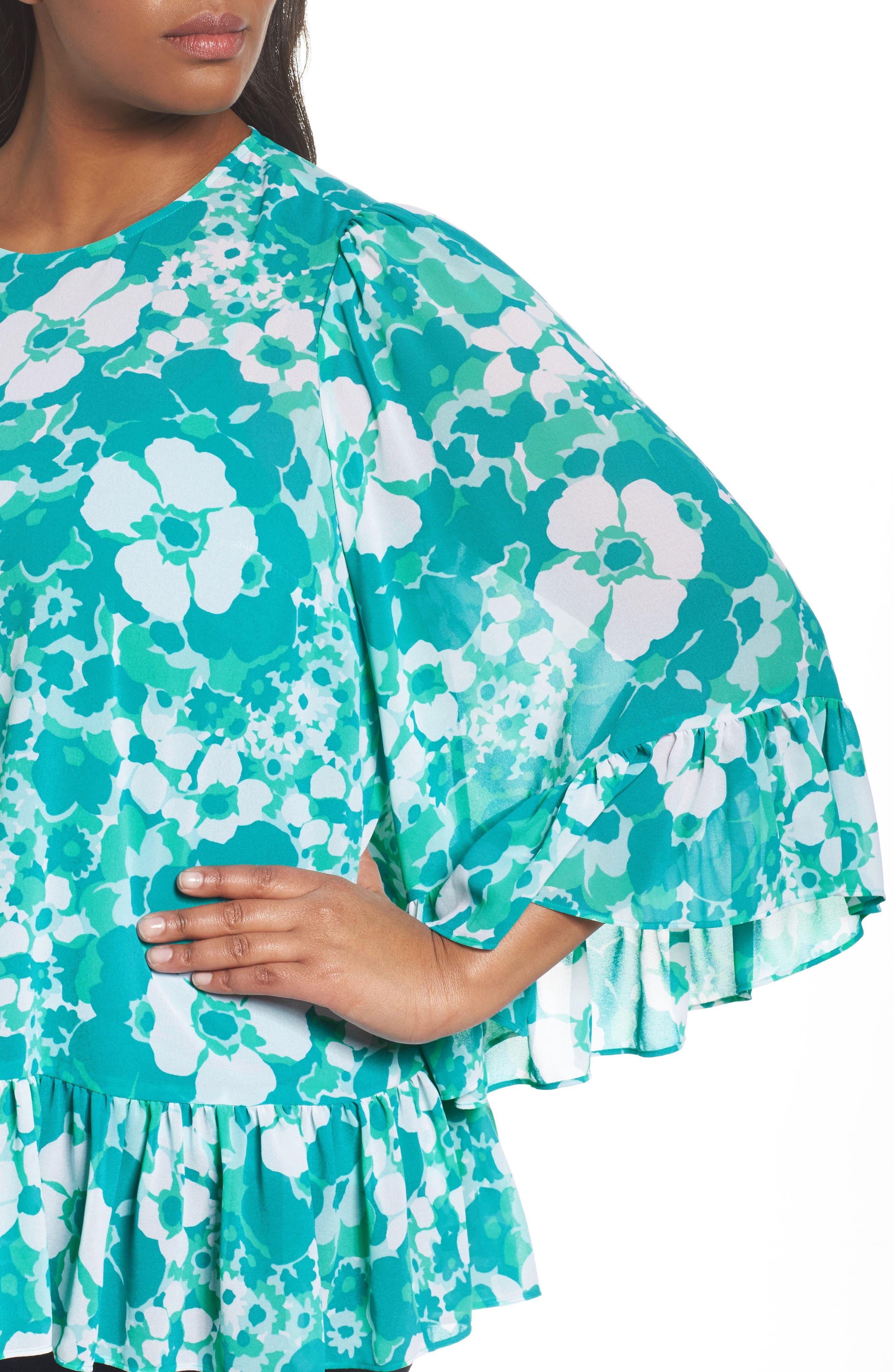 Alternate Image 4  - MICHAEL Michael Kors Springtime Floral Ruffle Top (Plus Size)