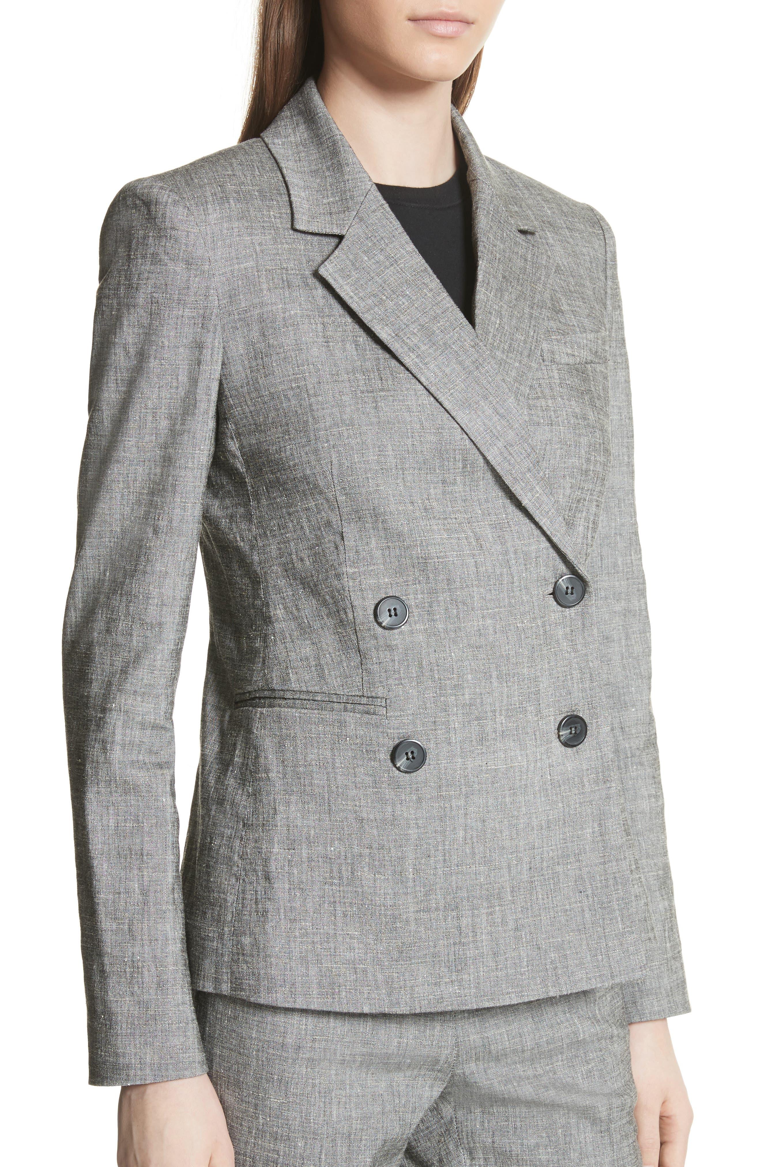 Double Breasted Linen Blend Suit Jacket,                             Alternate thumbnail 4, color,                             Black