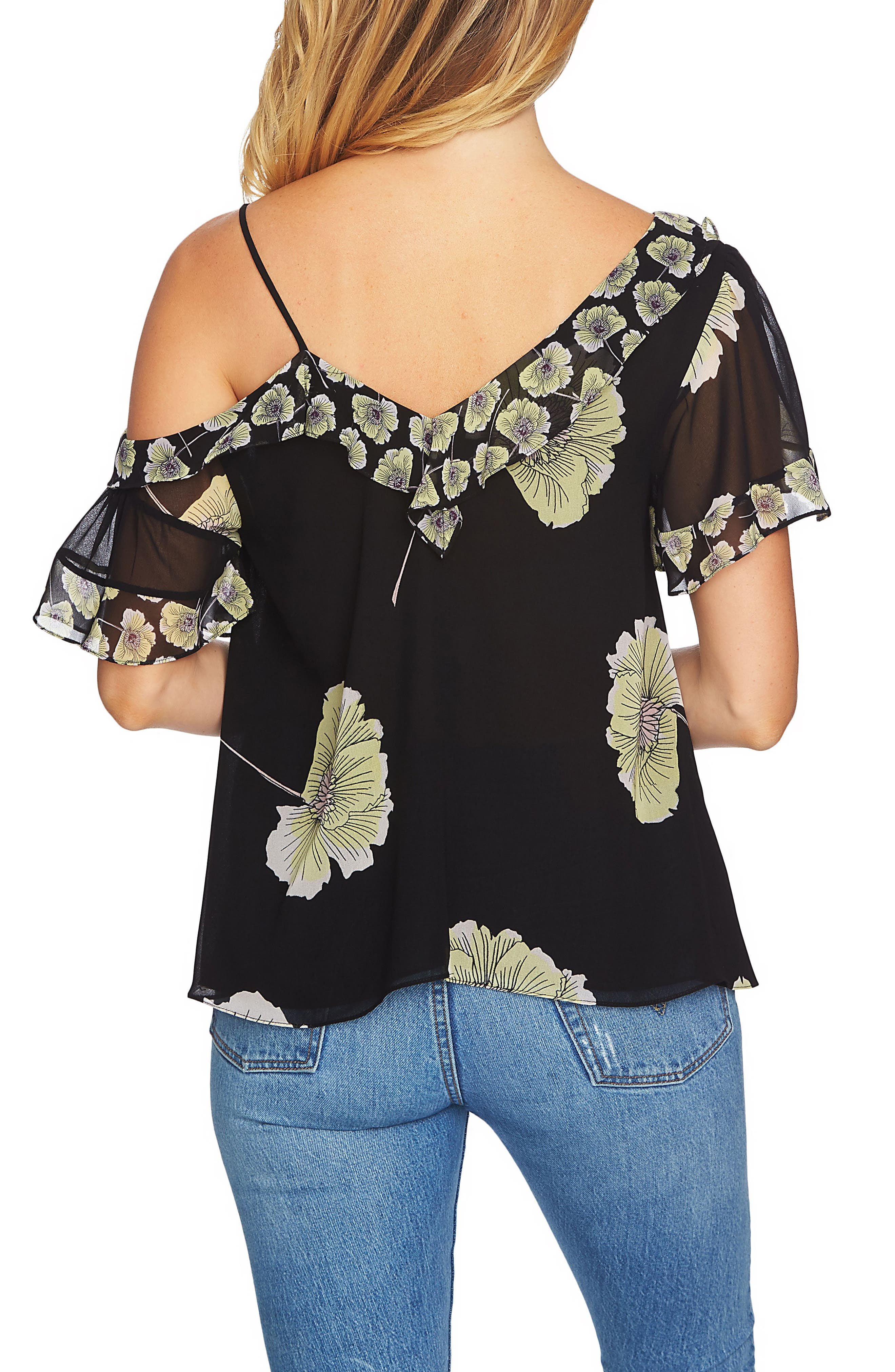 Mixed Print Blouse,                             Alternate thumbnail 2, color,                             060-Rich Black