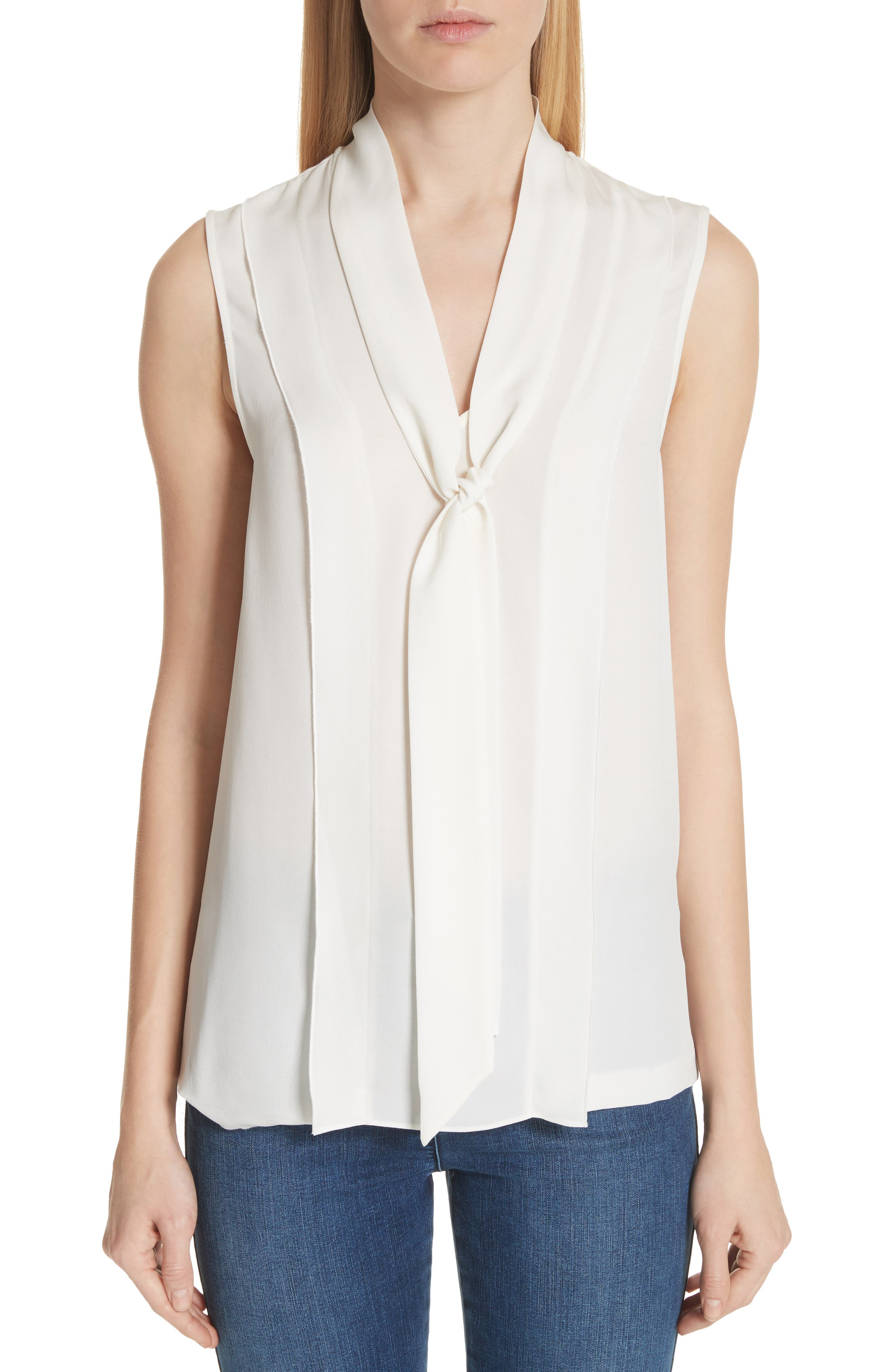 St. John Collection Double Silk Georgette Shell