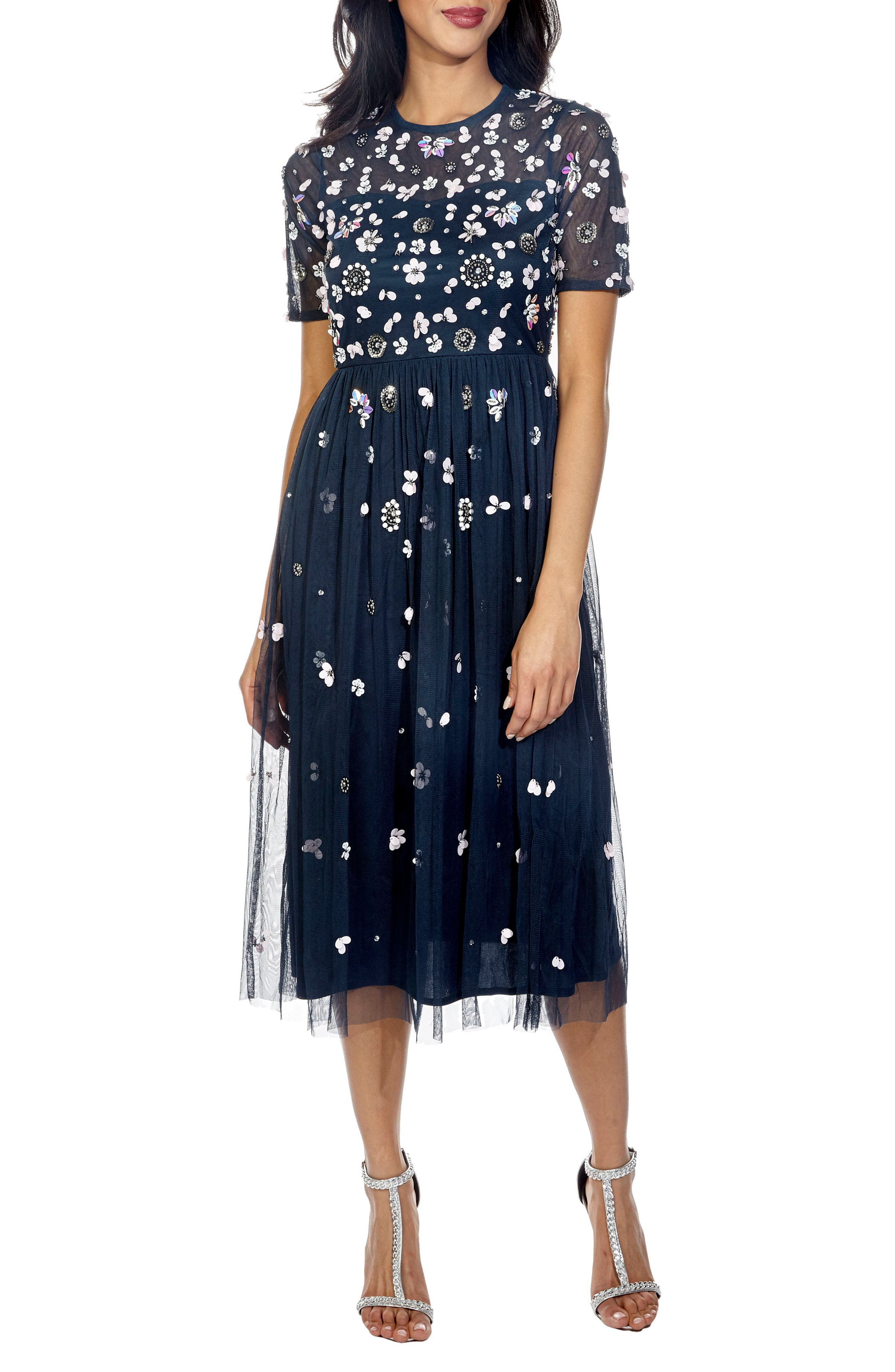 Baby Sequin Midi Dress,                         Main,                         color, Navy