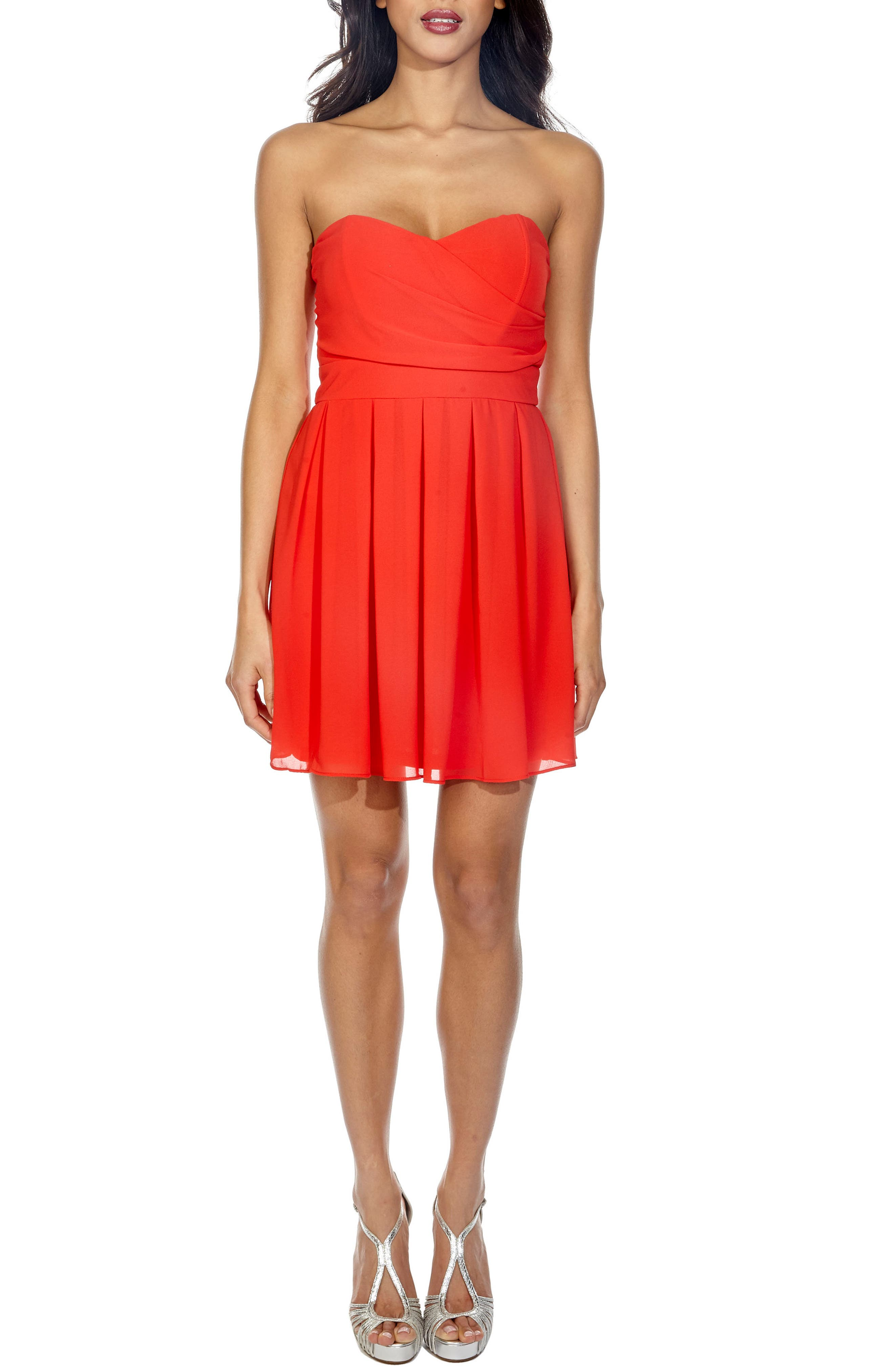 Elida Pleat Skirt Strapless Fit & Flare Dress,                         Main,                         color, Red