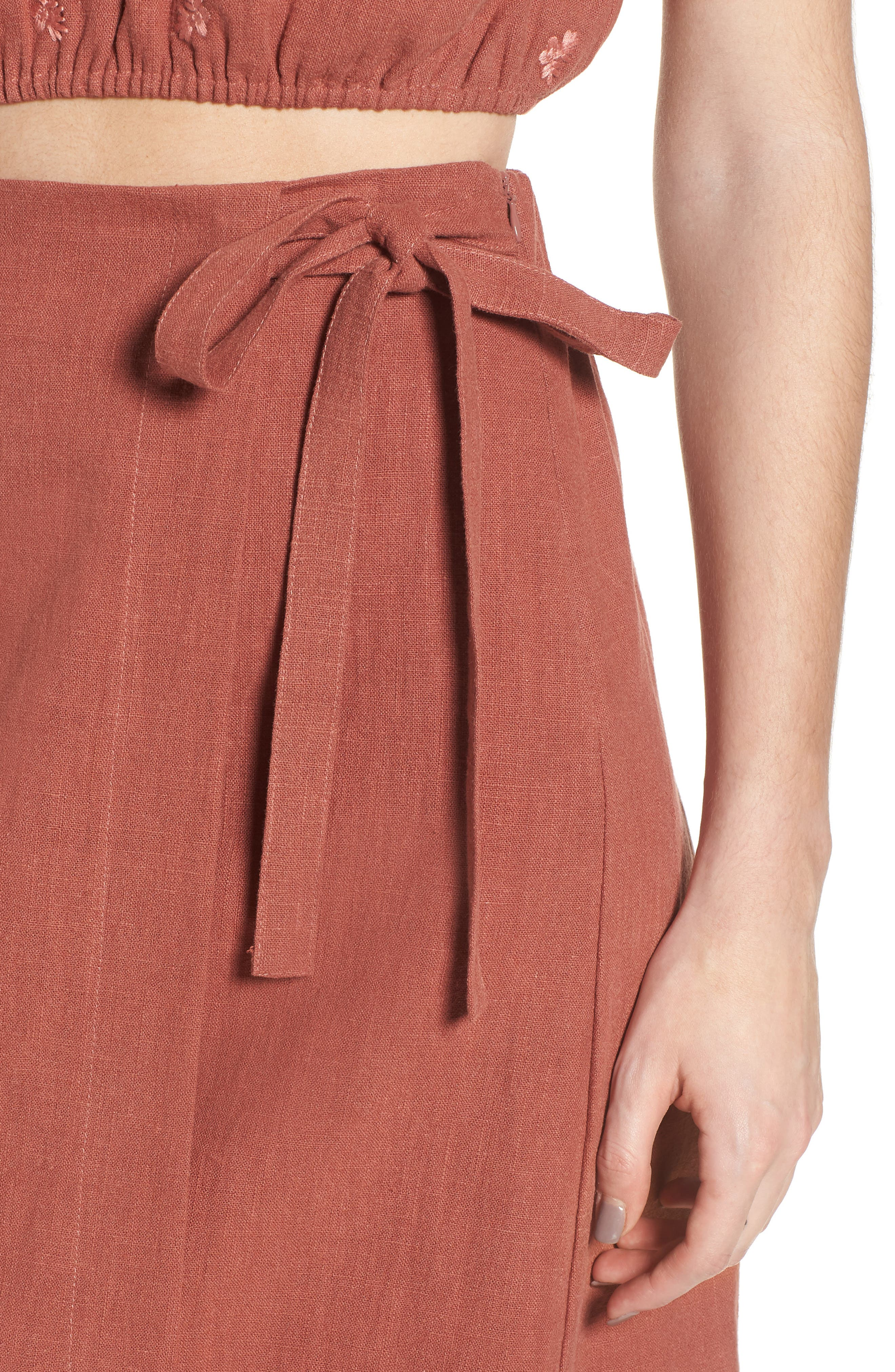 Wrap A-Line Skirt,                             Alternate thumbnail 5, color,                             Rust
