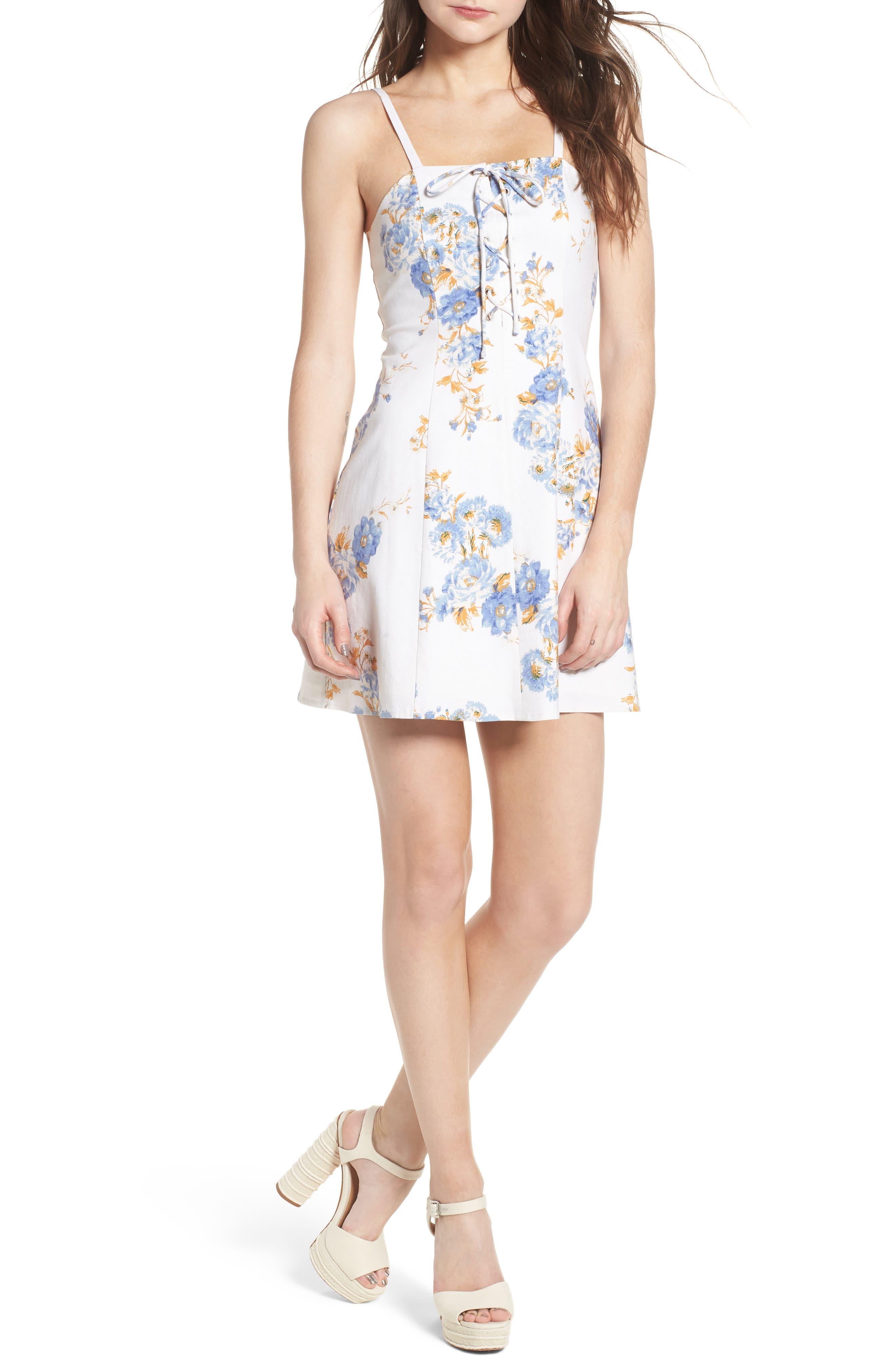 Modena Lace-Up Minidress,                             Main thumbnail 1, color,                             Ivory Floral