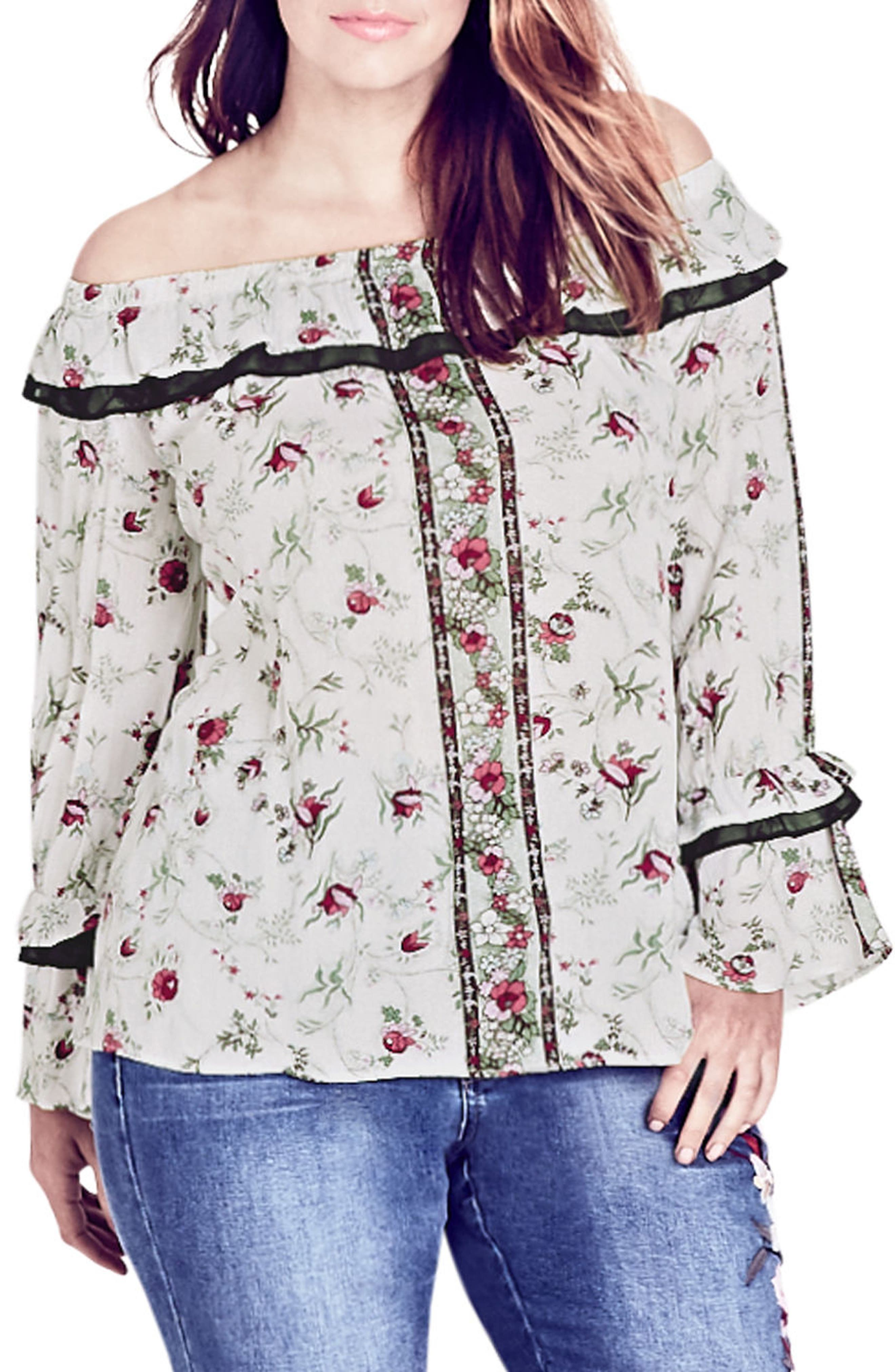 Love Story Floral Off the Shoulder Top,                             Main thumbnail 1, color,                             Love Story