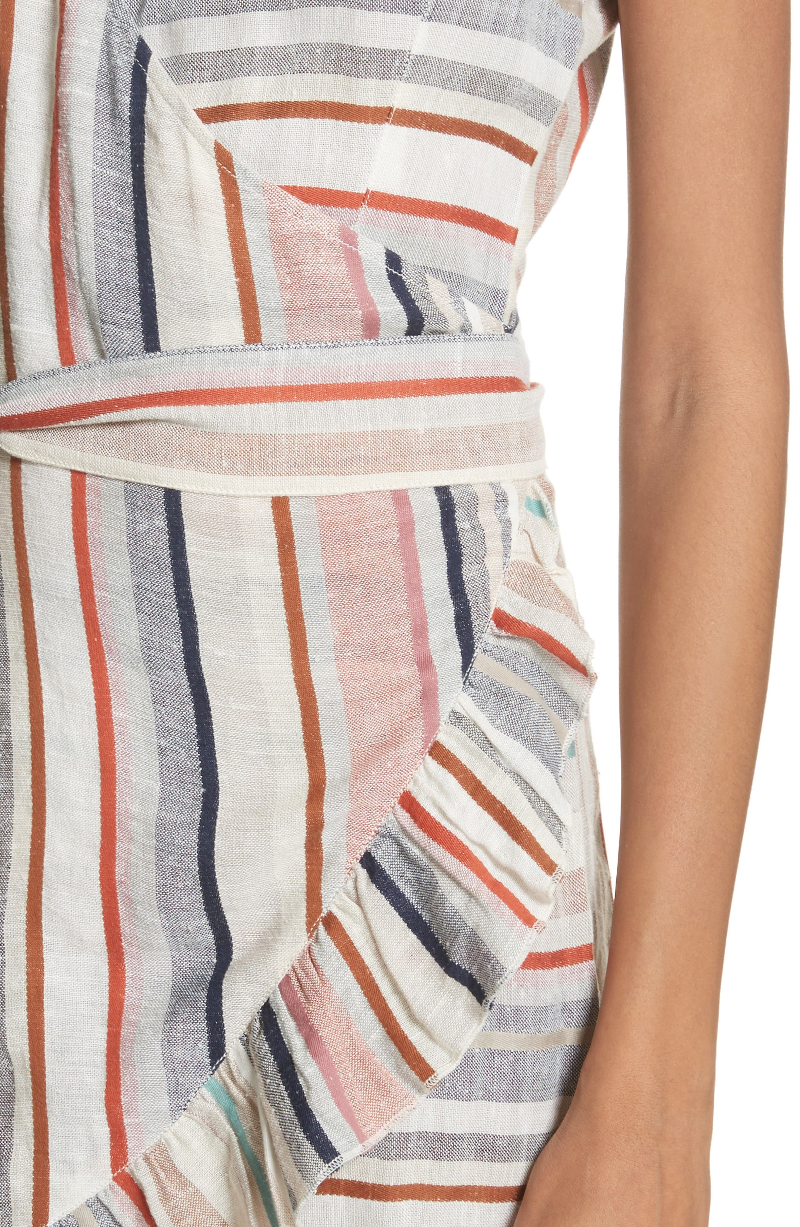 Wrap It Up Stripe Wrap Dress,                             Alternate thumbnail 4, color,                             Assort
