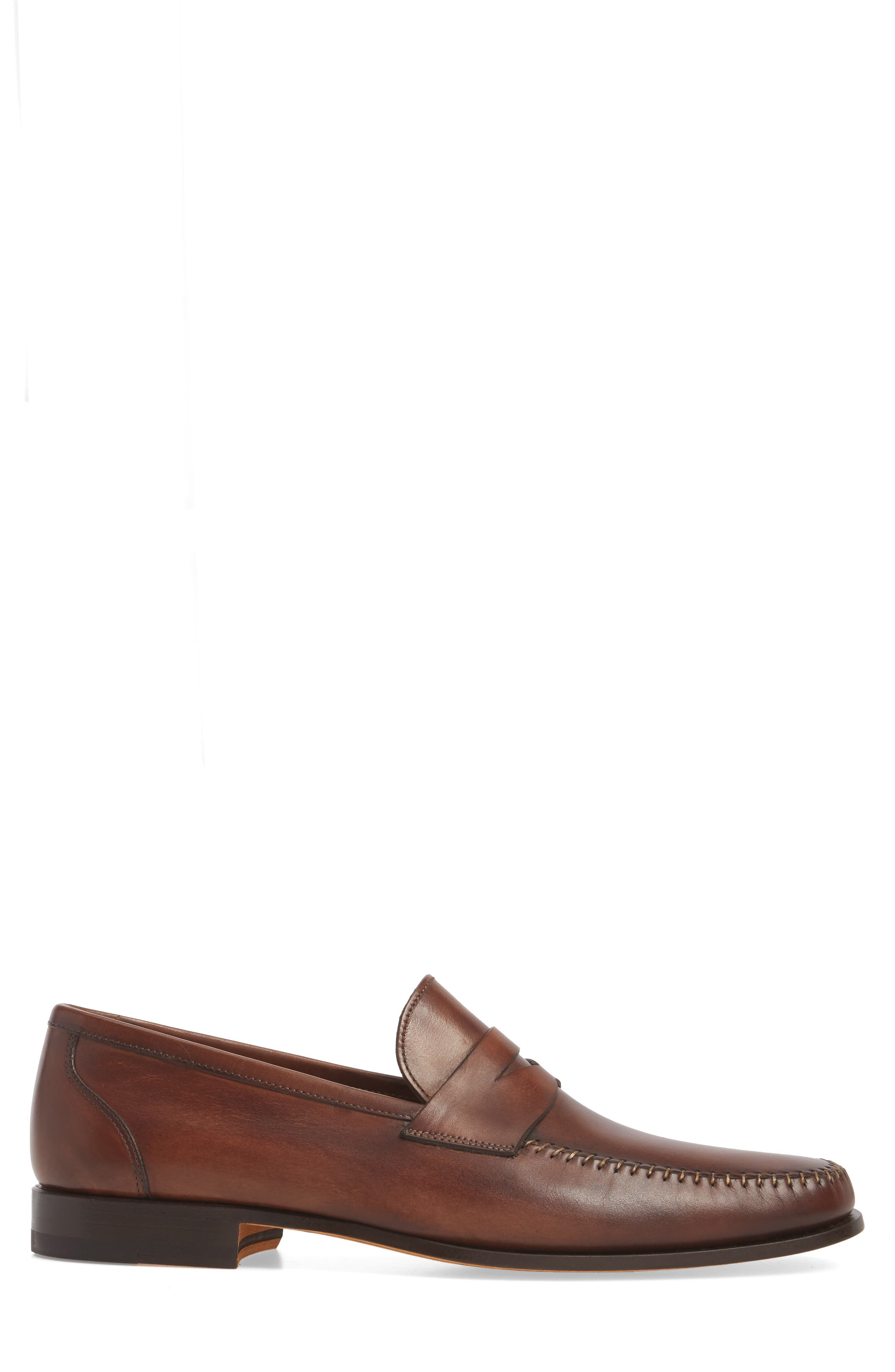 Ramos Moc Toe Penny Loafer,                             Alternate thumbnail 3, color,                             Brown Leather