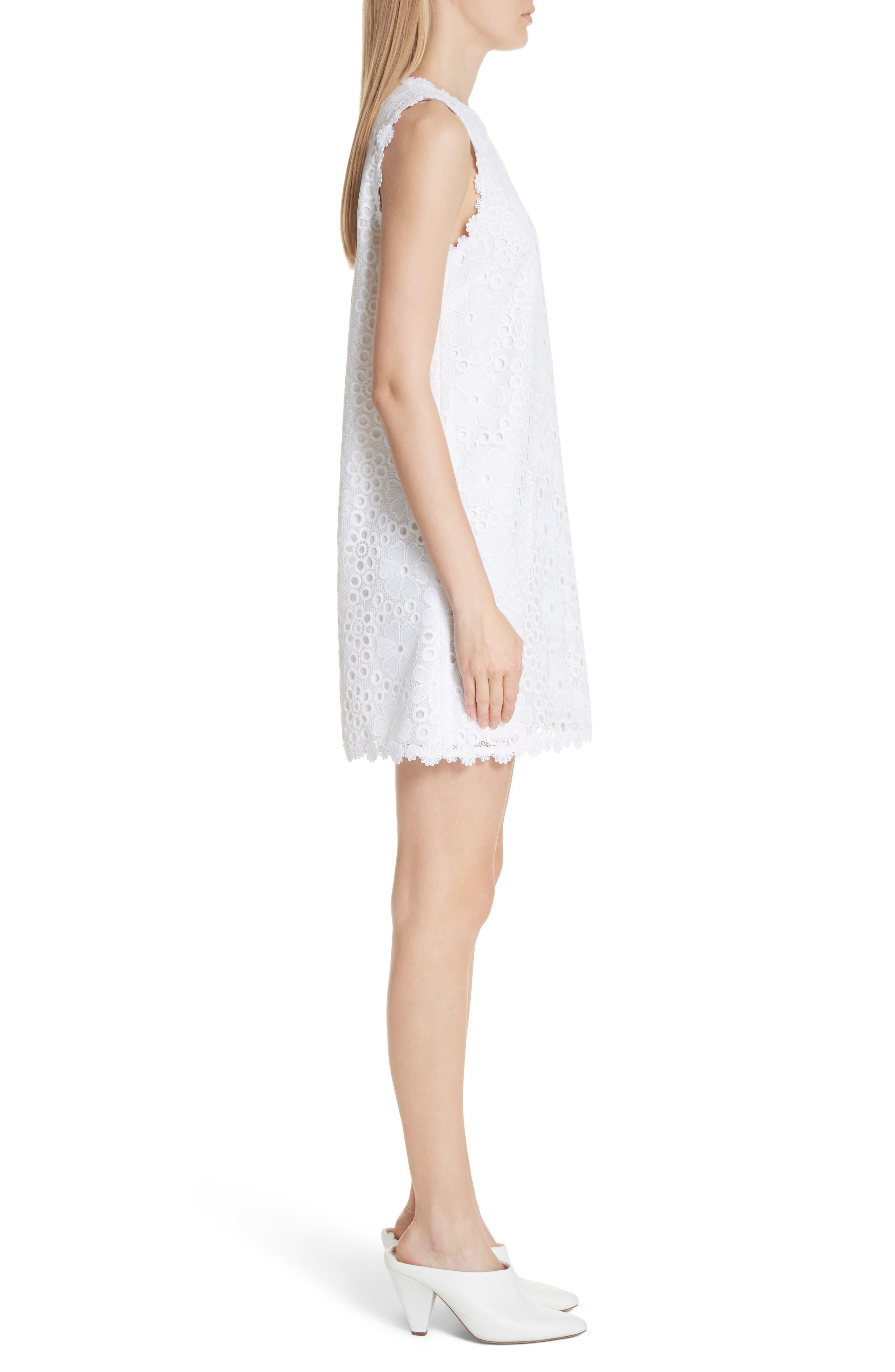 lace shift dress,                             Alternate thumbnail 3, color,                             Fresh White