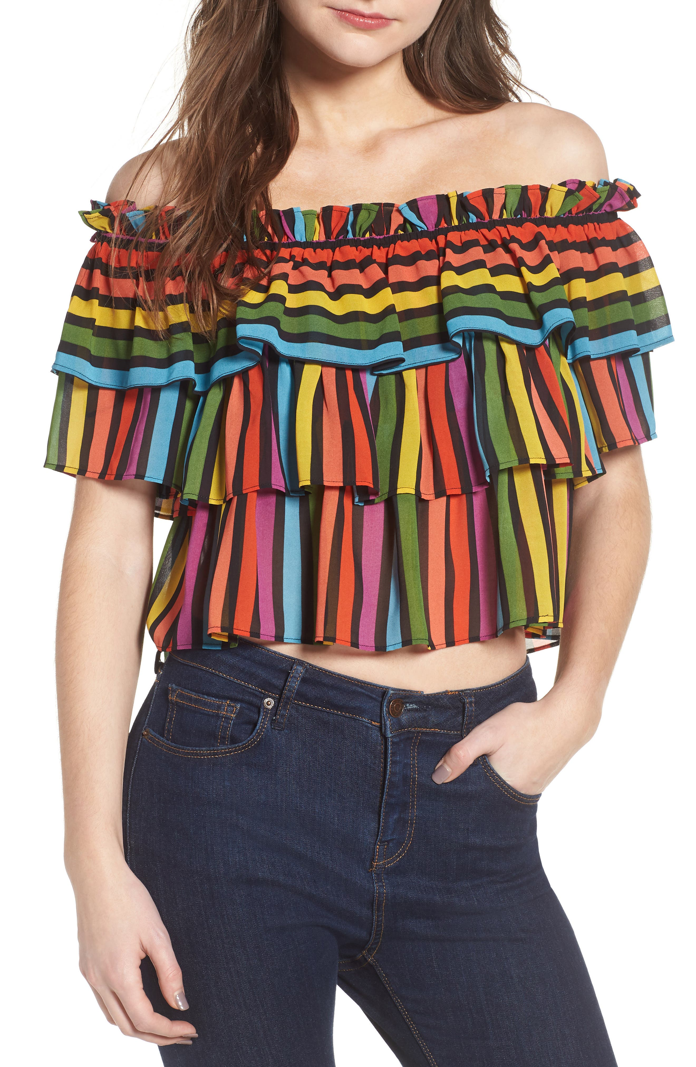 Toulon Tiered Ruffle Top,                         Main,                         color, Rainbow Stripe