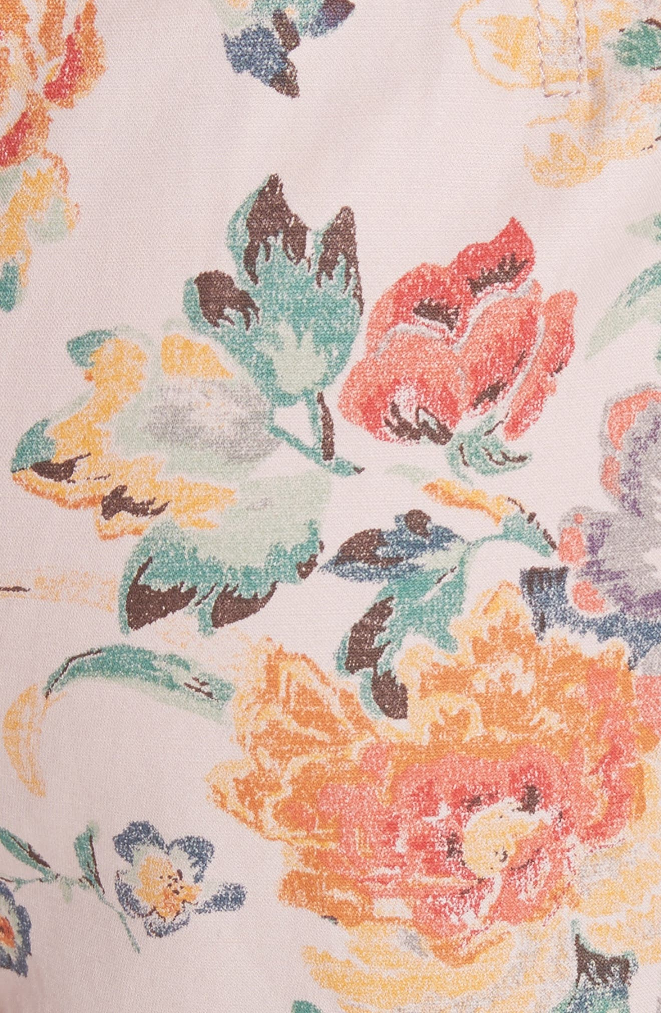 Marlena Floral Crop Pants,                             Alternate thumbnail 5, color,                             Dusty Rose Combo