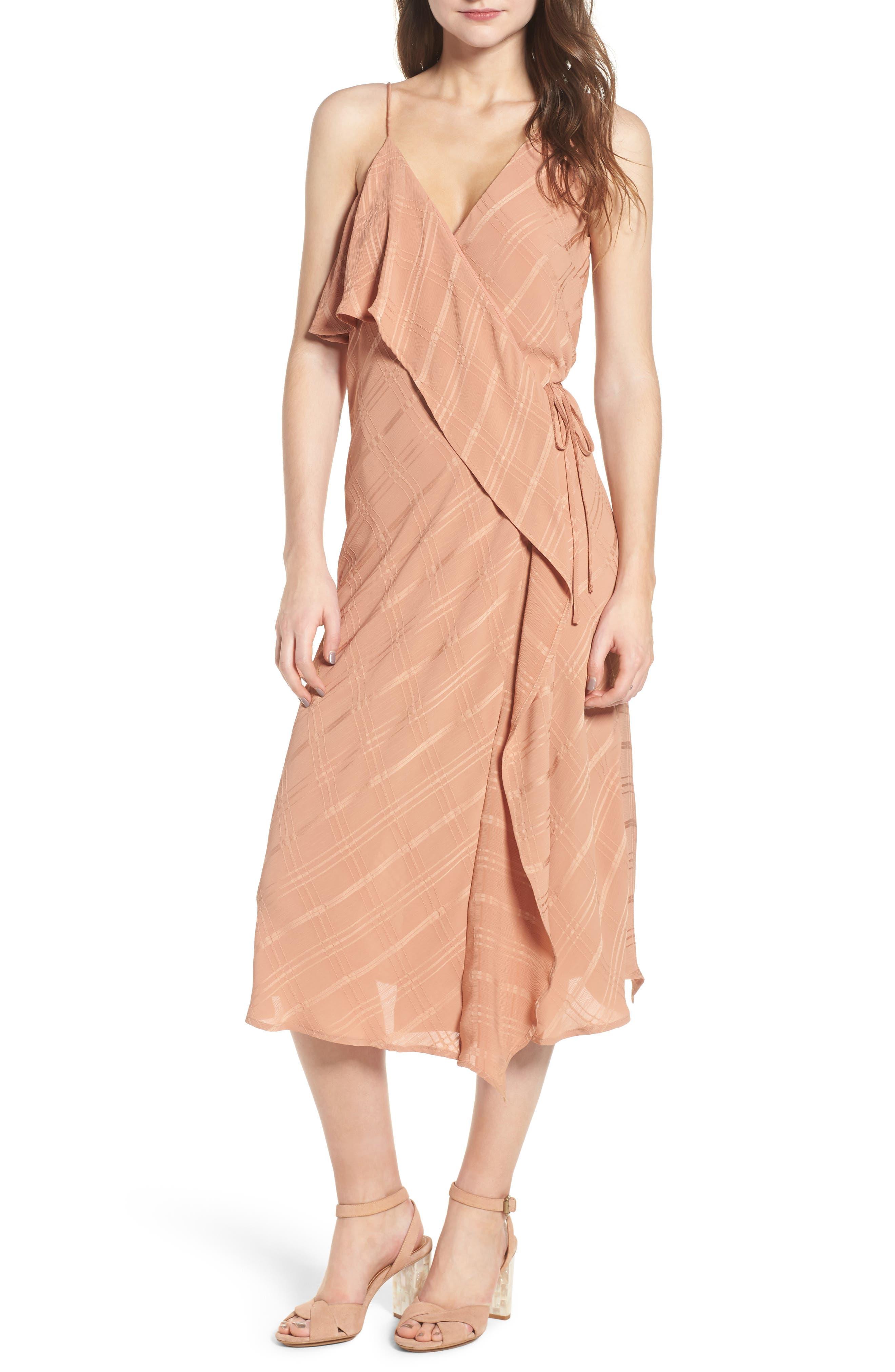 Yoanna Ruffle Trim Wrap Dress,                             Main thumbnail 1, color,                             Terracotta