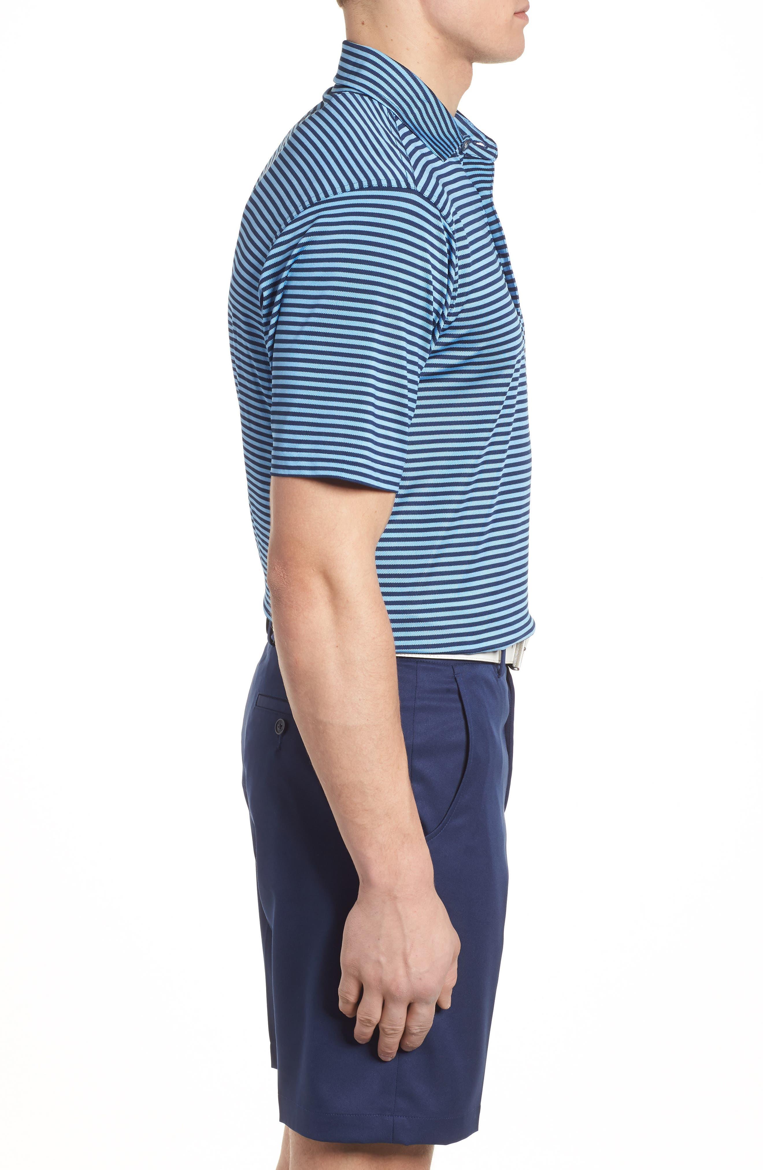 XH2O Feed Stripe Stretch Golf Polo,                             Alternate thumbnail 3, color,                             Sky Blue