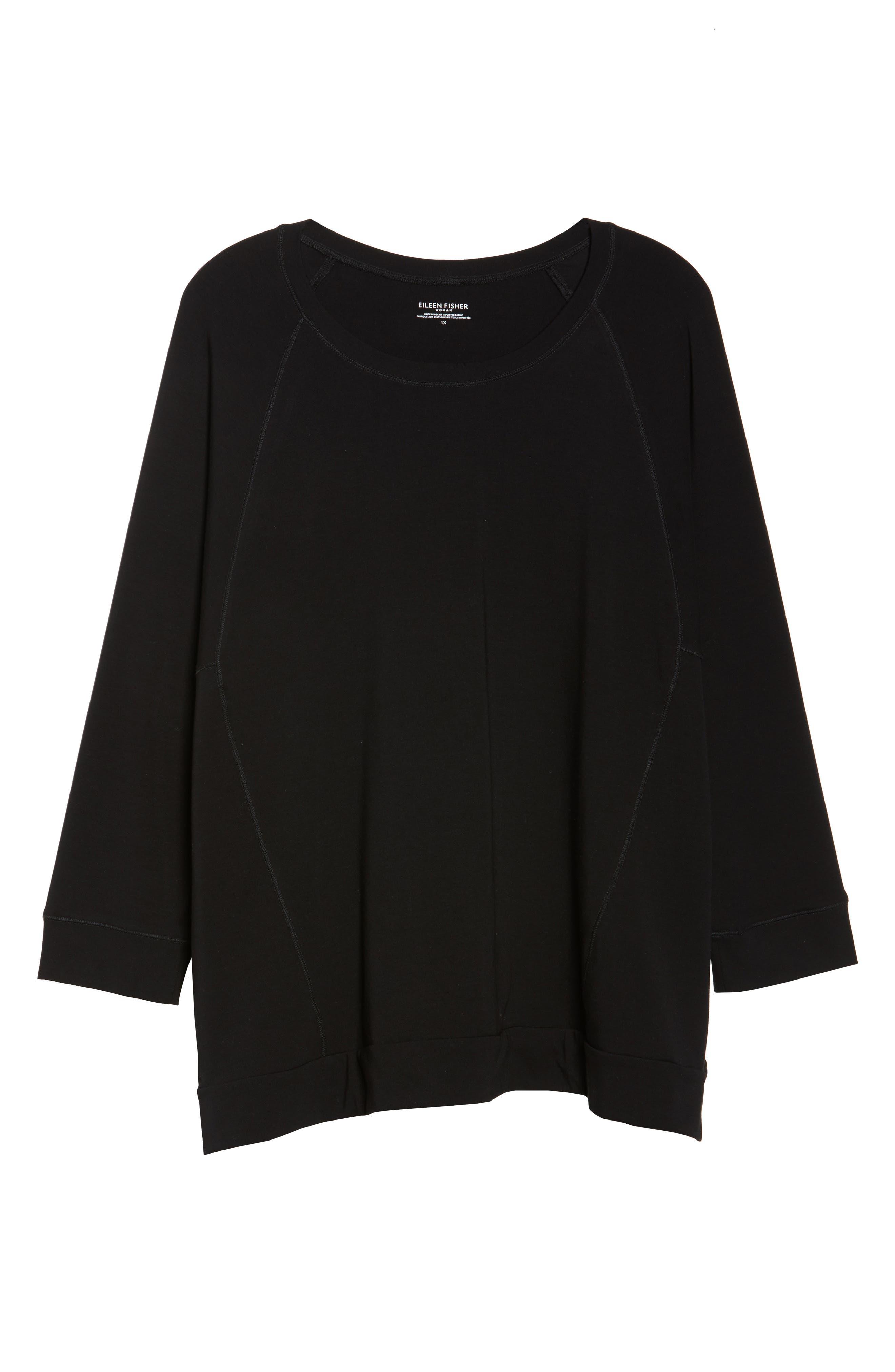 Organic Jersey Side Zip Top,                             Alternate thumbnail 7, color,                             Black