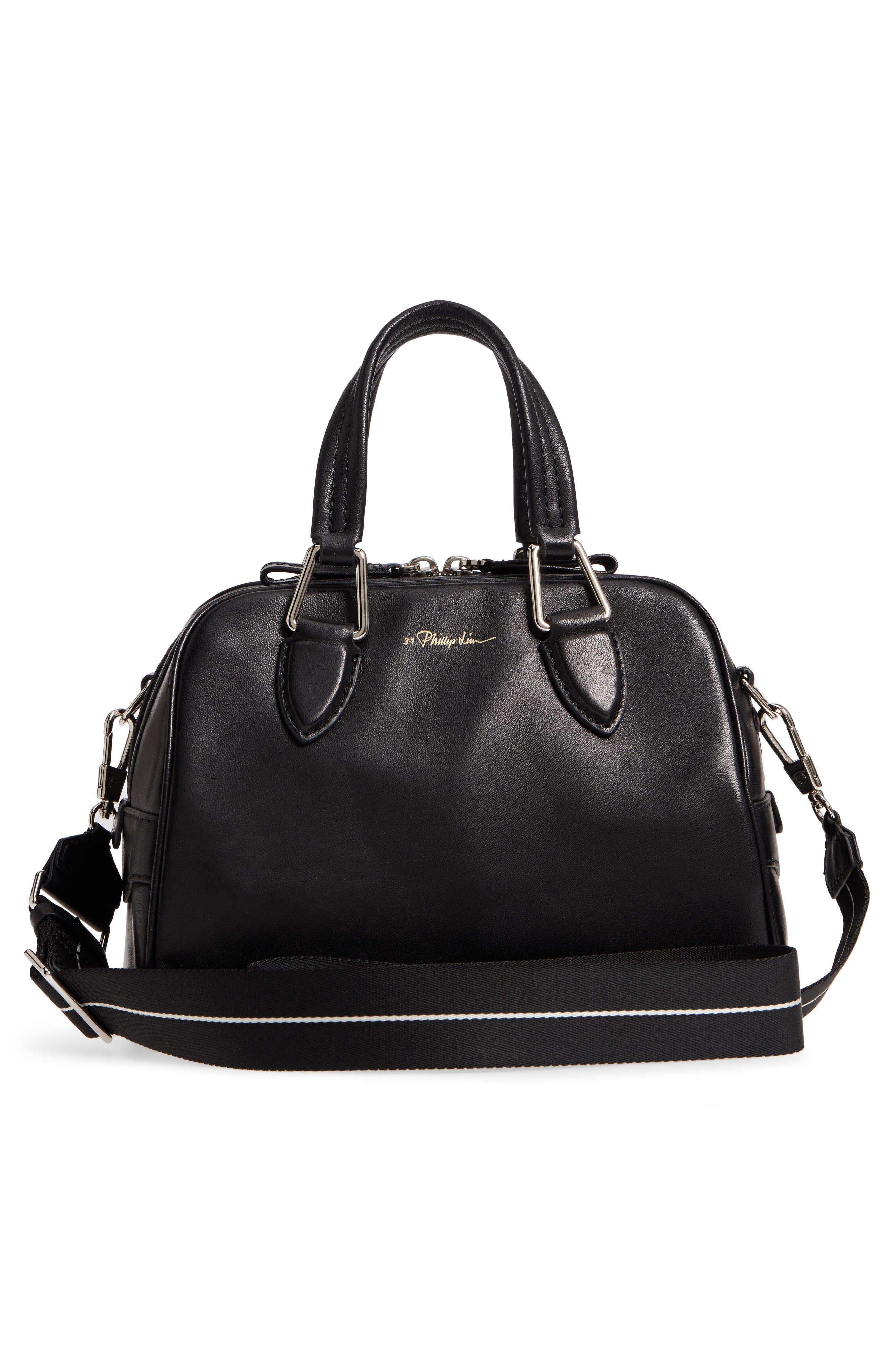 Small Ray Lambskin Leather Flight Bag,                             Alternate thumbnail 3, color,                             Black