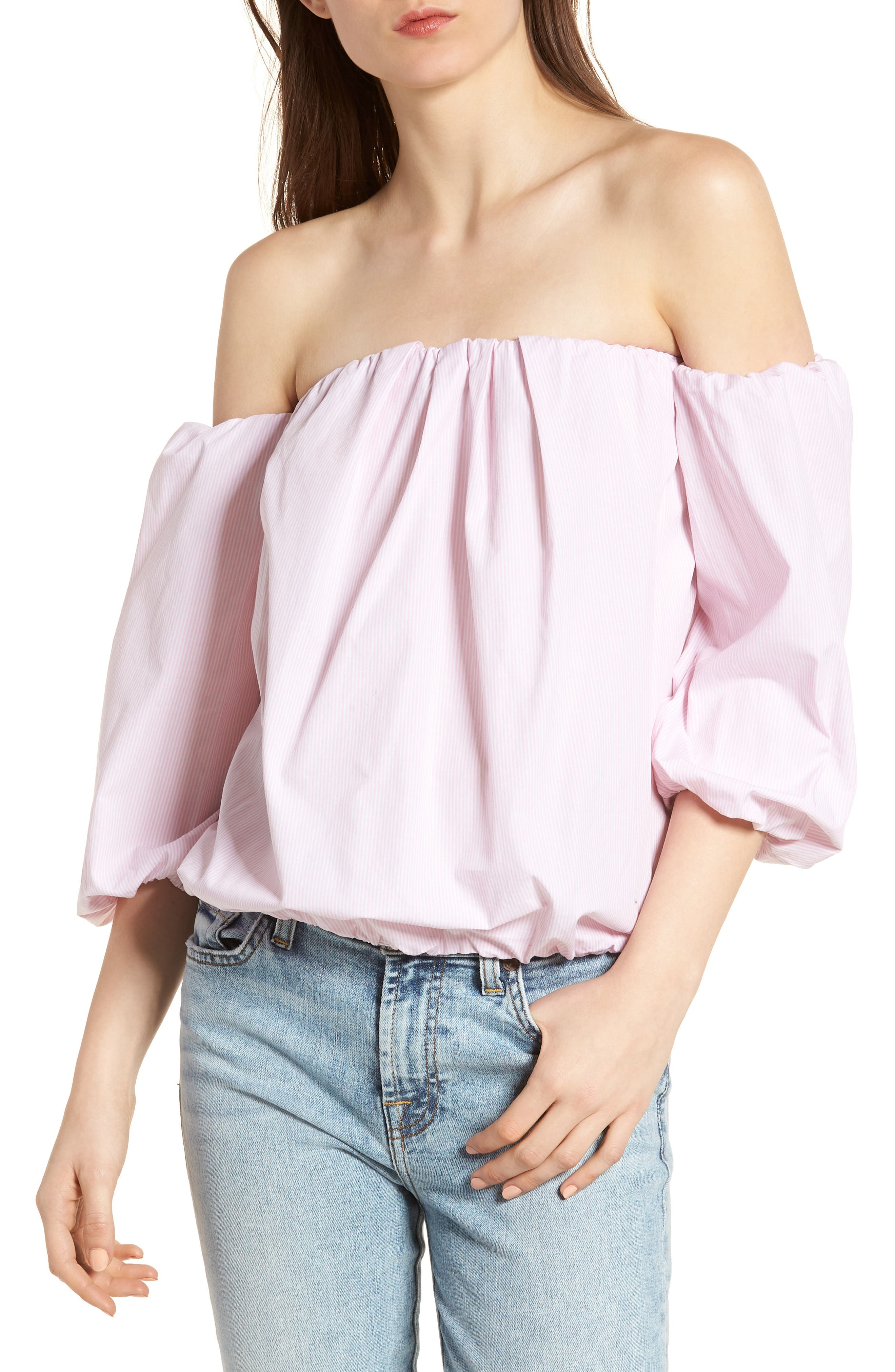 Off the Shoulder Top,                             Main thumbnail 1, color,                             Pink/ White
