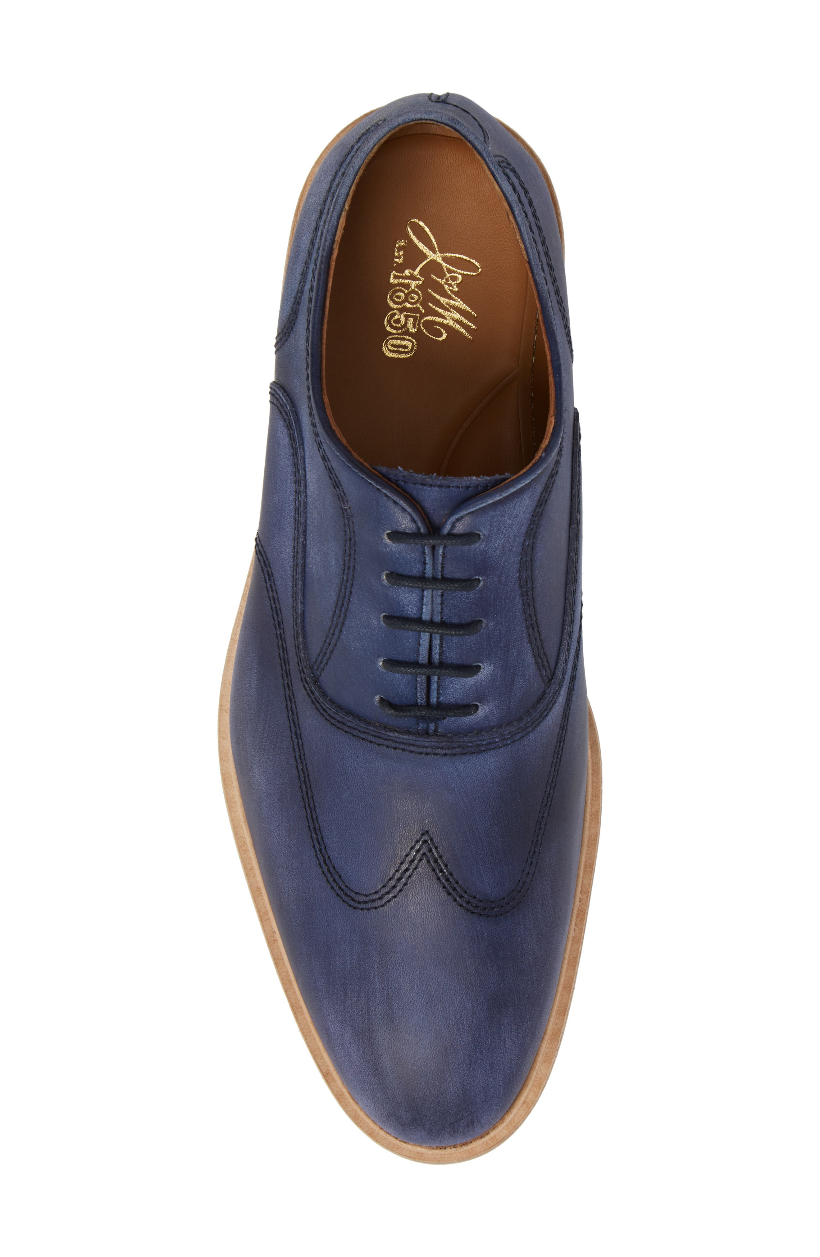 Chambliss Wingtip Oxford,                             Alternate thumbnail 5, color,                             Navy Leather